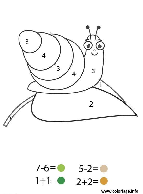 Coloriage Magique Cp Un Escargot Sur Une Feuille Dessin