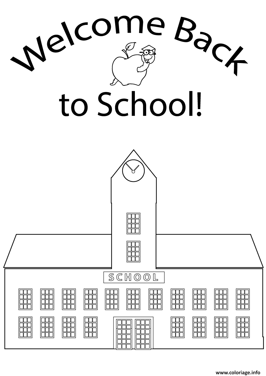 Dessin retour rentree scolaire ecole Coloriage Gratuit à Imprimer