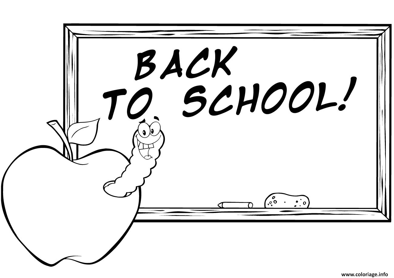 Dessin pomme vers de terre retour scolaire Coloriage Gratuit à Imprimer