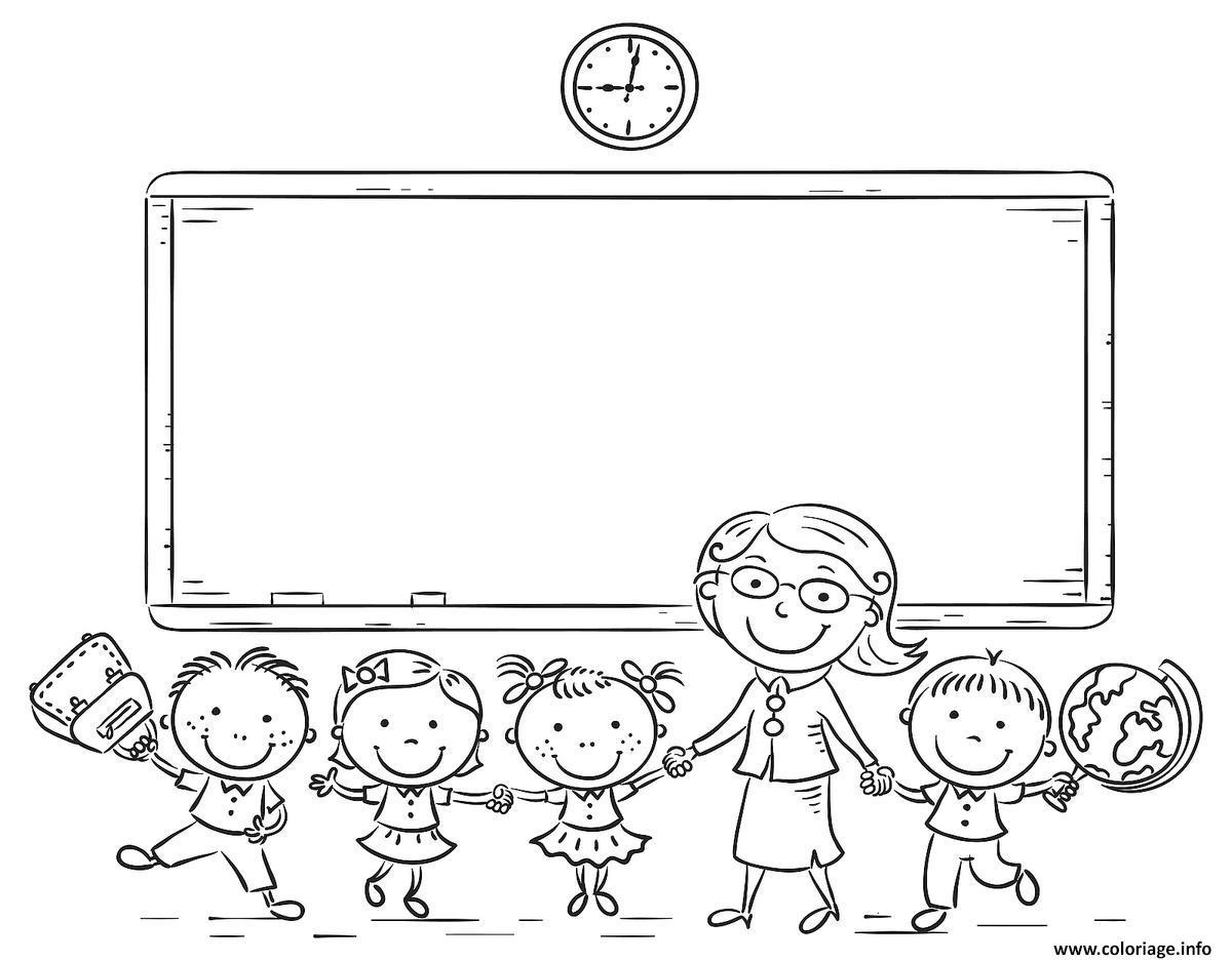 Dessin professeur et ses eleves ecole rentree scolaire Coloriage Gratuit à Imprimer
