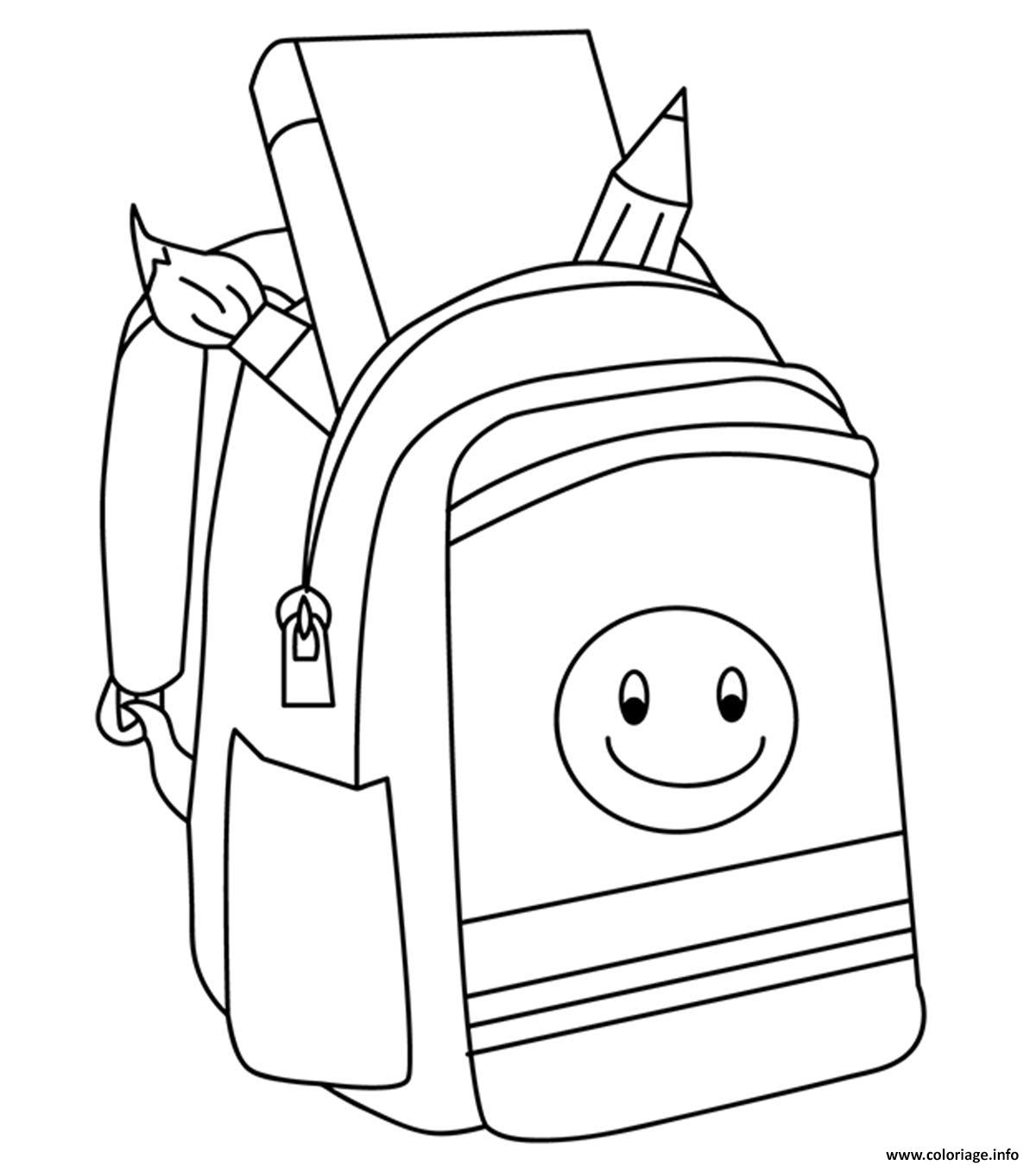 Dessin rentree scolaire sac a dos Coloriage Gratuit à Imprimer