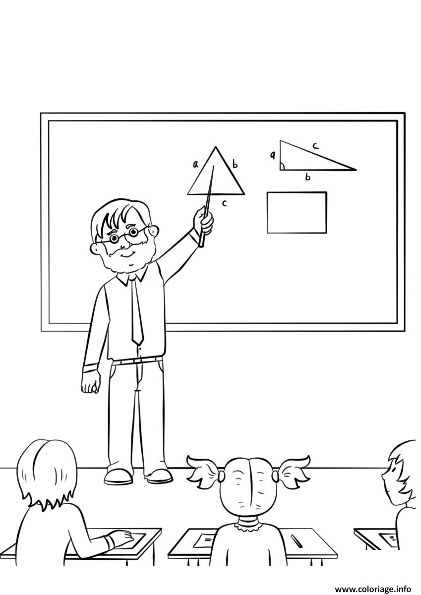 Dessin enseignant de mathematique ecole Coloriage Gratuit à Imprimer