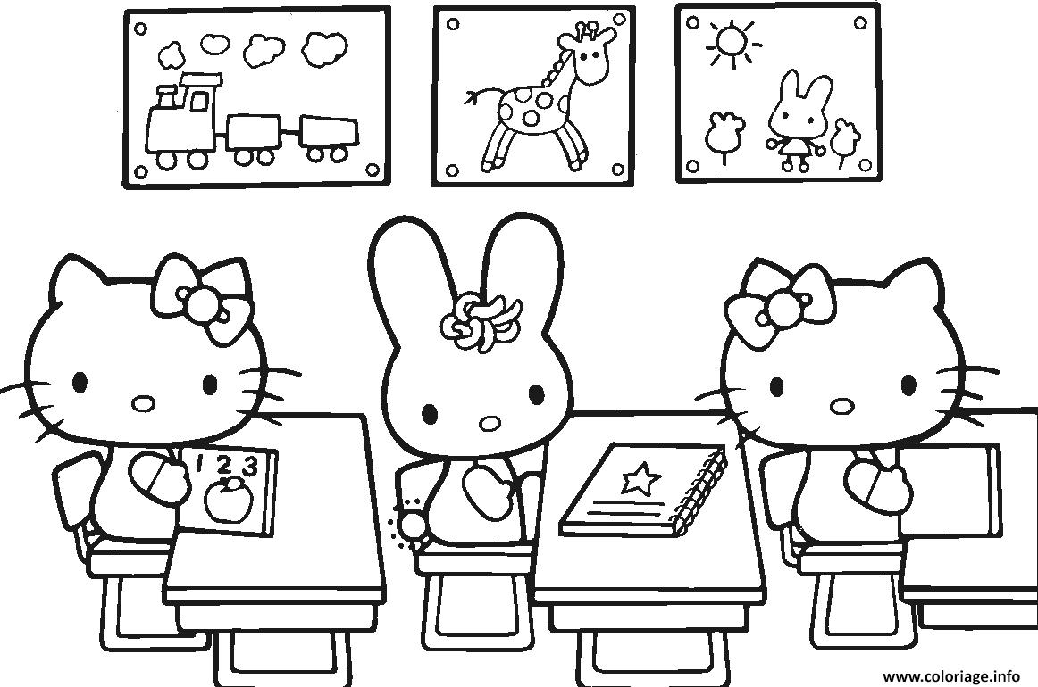 Dessin hello kitty rentree scolaire Coloriage Gratuit à Imprimer