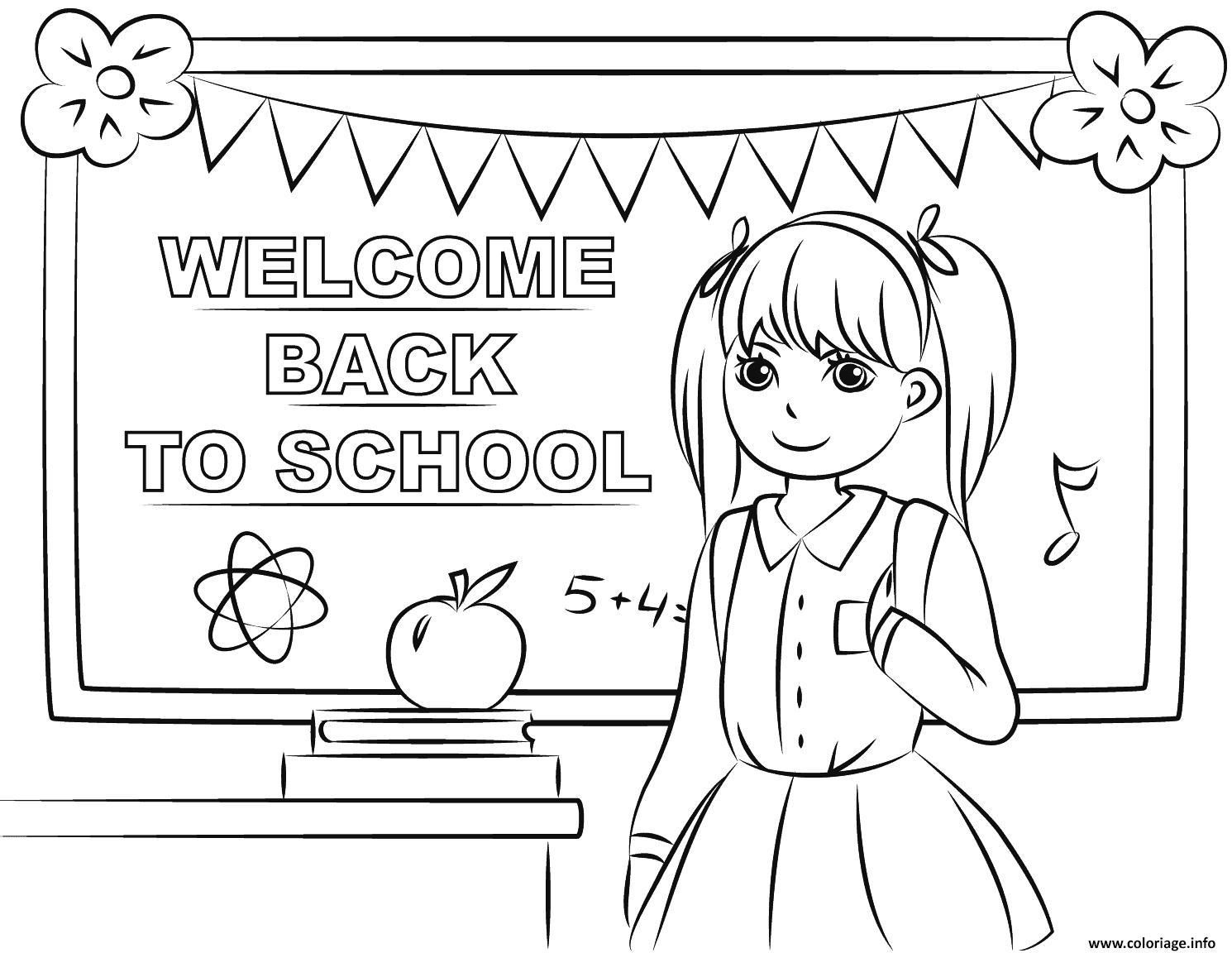 Dessin bienvenue a la rentree scolaire Coloriage Gratuit à Imprimer