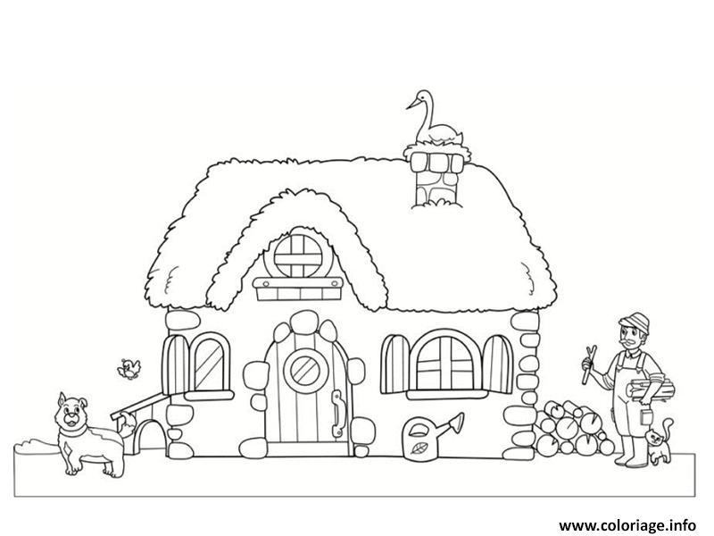 Dessin maison avec briques et animaux Coloriage Gratuit à Imprimer