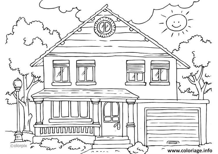 Dessin maison exterieur moderne complex Coloriage Gratuit à Imprimer