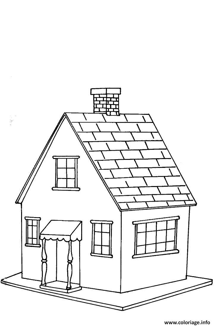 Dessin maison classique simple Coloriage Gratuit à Imprimer