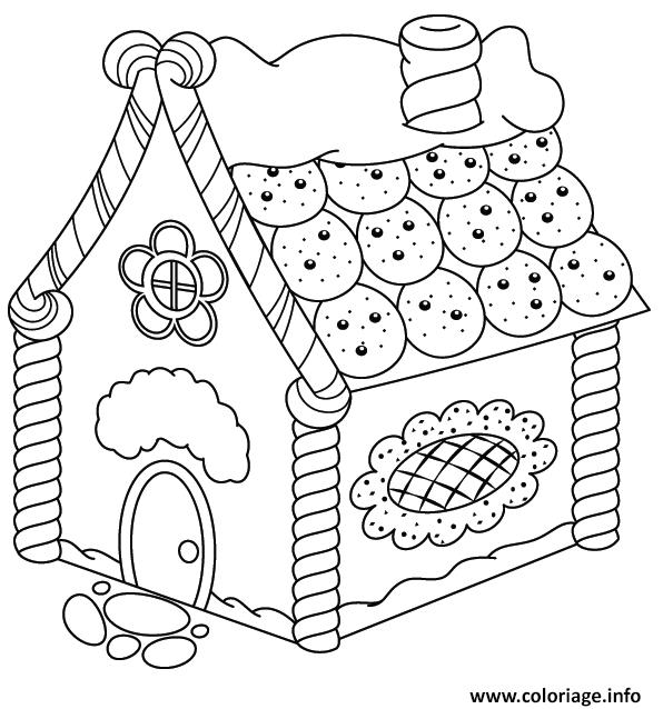 Dessin maison en biscuits Coloriage Gratuit à Imprimer