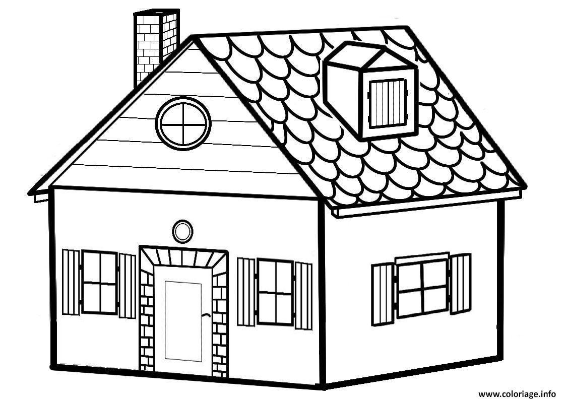 Dessin charmante maison avec fenetres et chemine Coloriage Gratuit à Imprimer