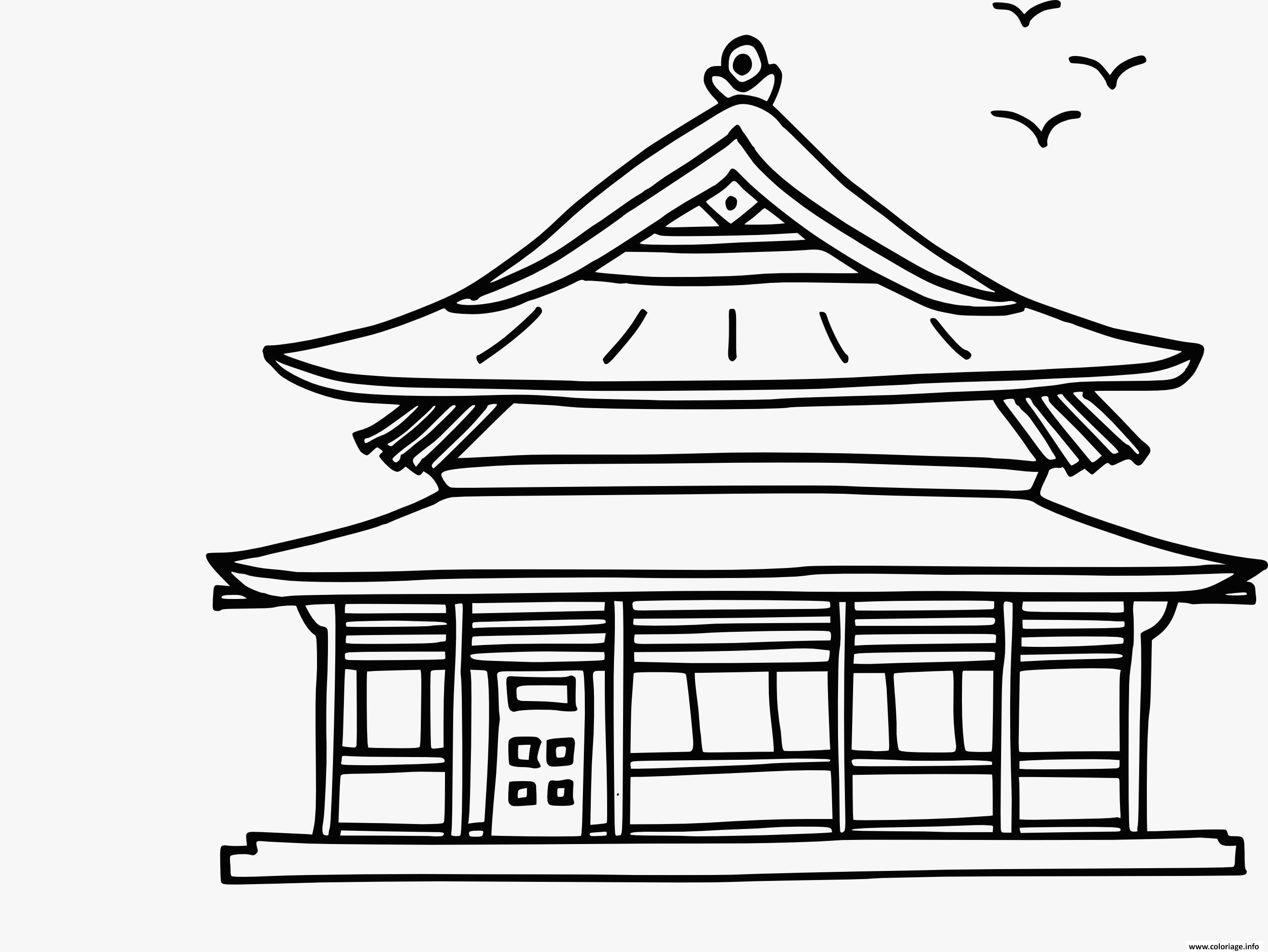 Dessin maison asiatique chinoise traditionnelle Coloriage Gratuit à Imprimer