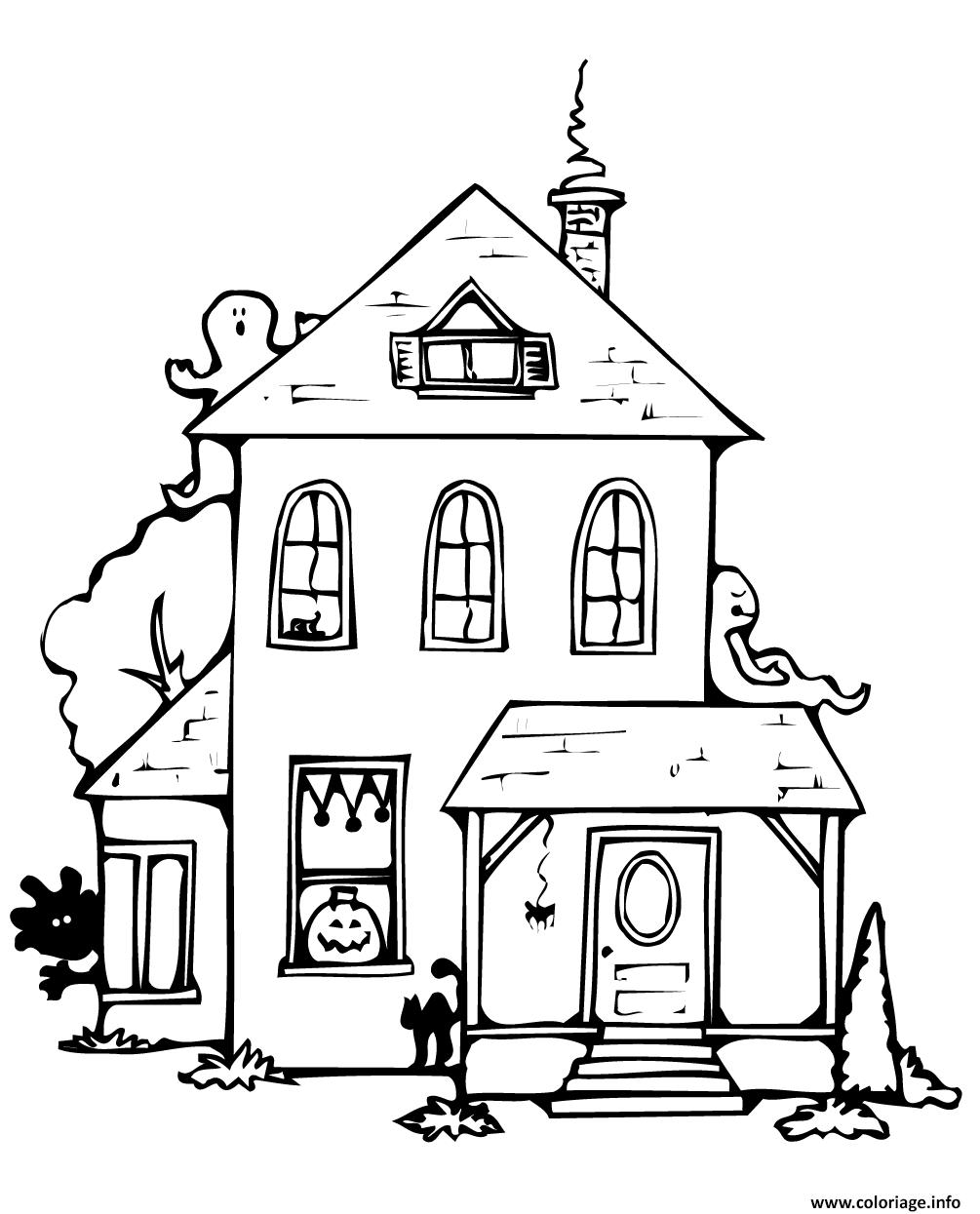 Coloriage Maison Hantee Halloween Avec Fantomes Citrouille Chat Dessin Maison A Imprimer