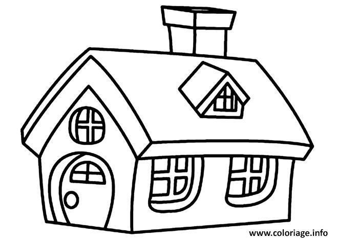 Coloriage Belle Maison Simple Avec Fenetres Et Chemine