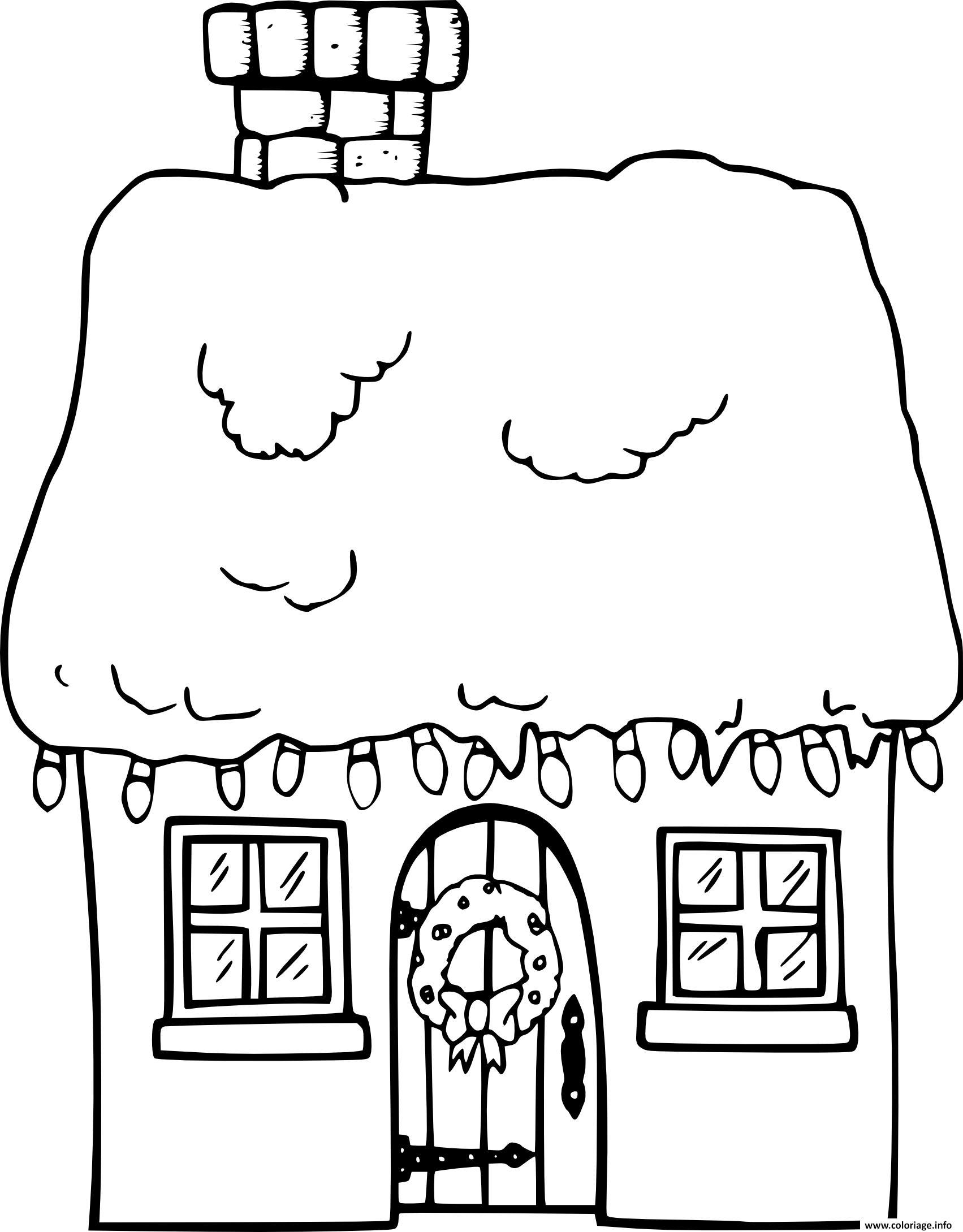 Dessin maison de noel avec neige Coloriage Gratuit à Imprimer