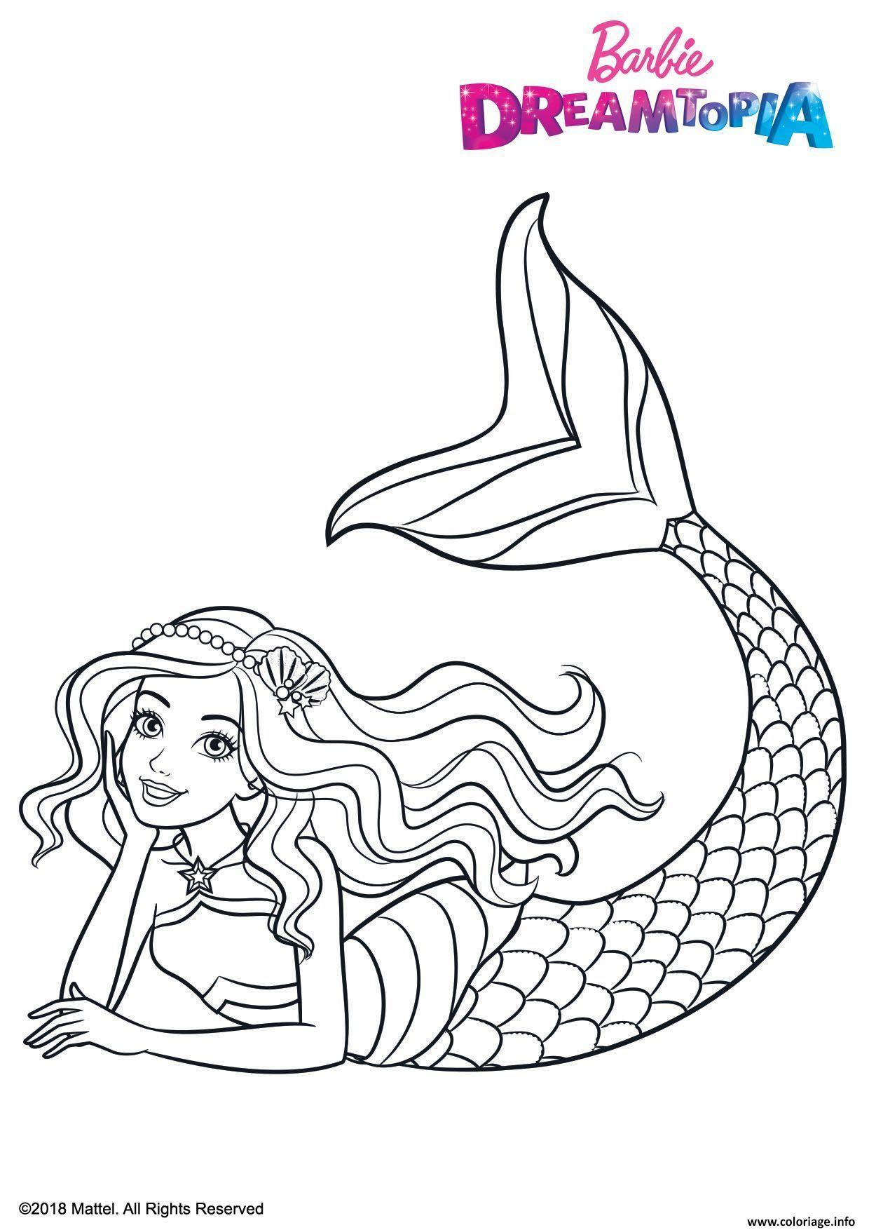Coloriage Gulli Barbie Sirene Arc En Ciel dessin