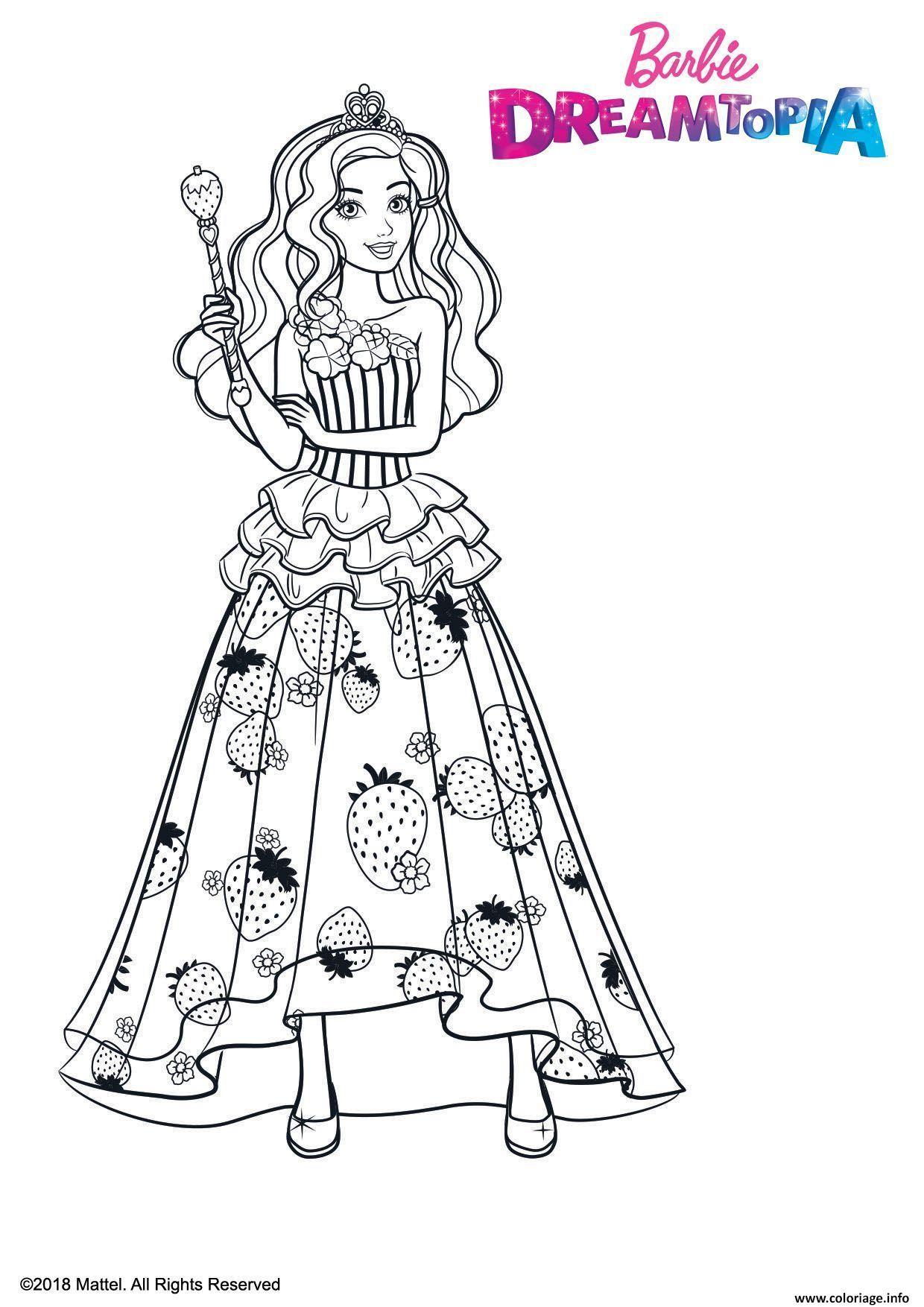 Coloriage Barbie Princesse Bonbons - JeColorie.com
