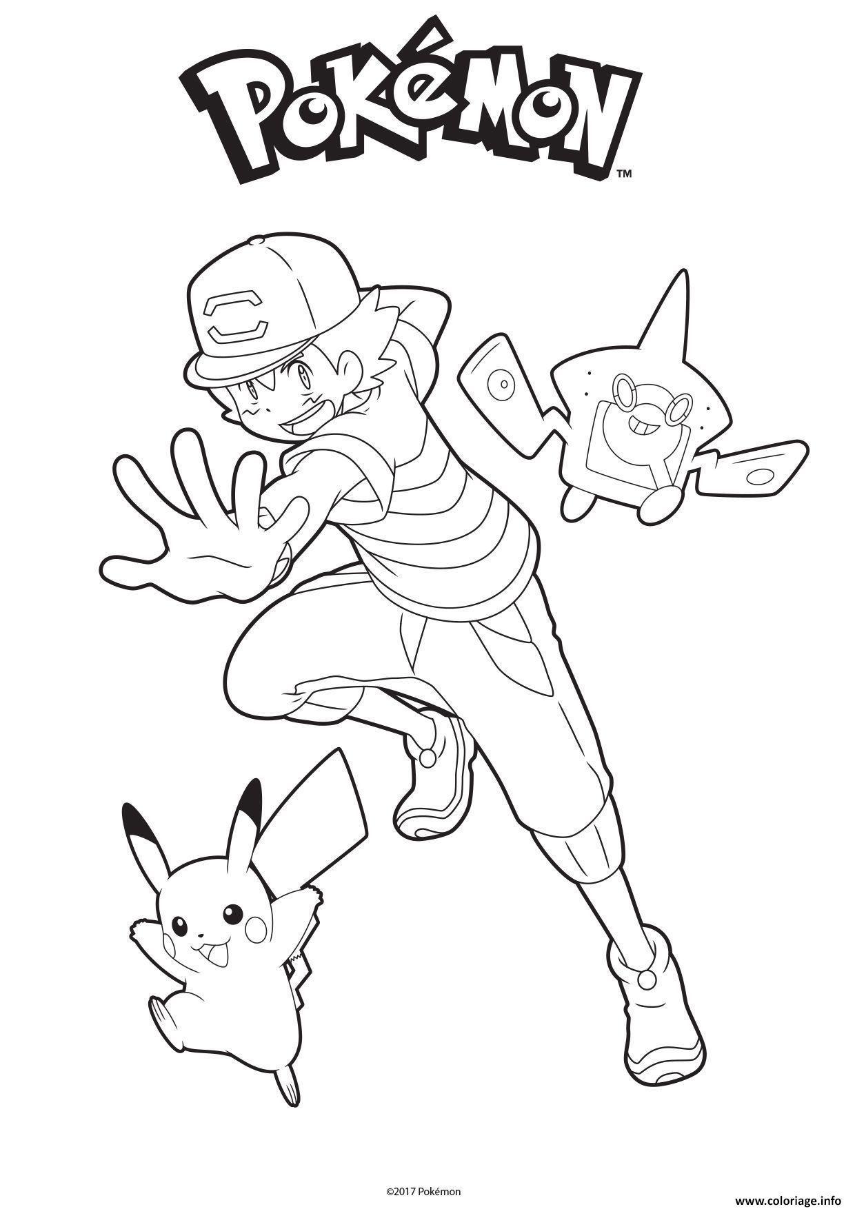 Coloriage Sacha Pikachu et Rotom Dex - JeColorie.com