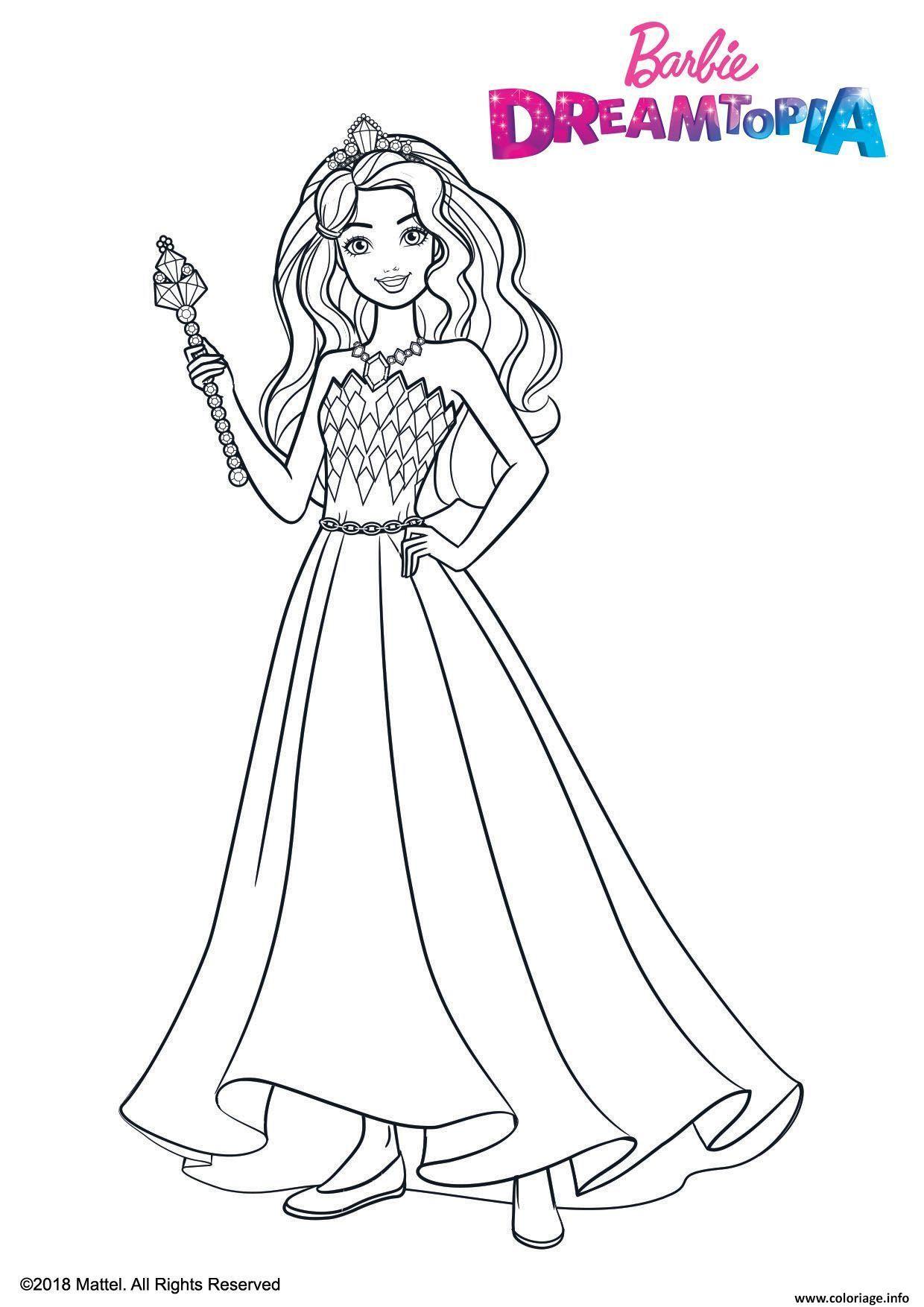 Coloriage Barbie Princesse Fille Dreamtopia Jecolorie Com