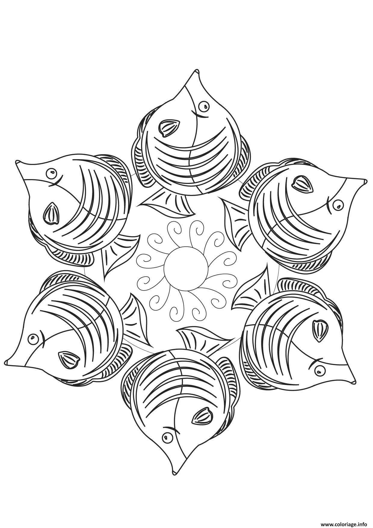 Coloriage Mandala Poisson Jecolorie Com