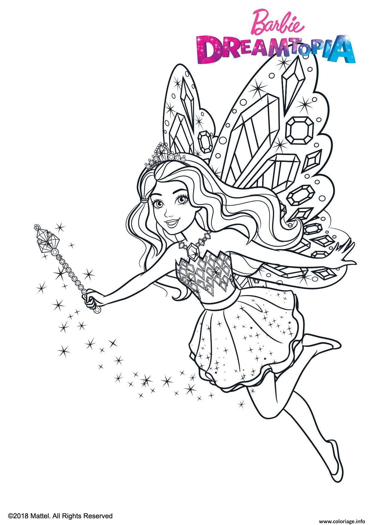 Coloriage Gulli Barbie Fee Paillettes Dessin