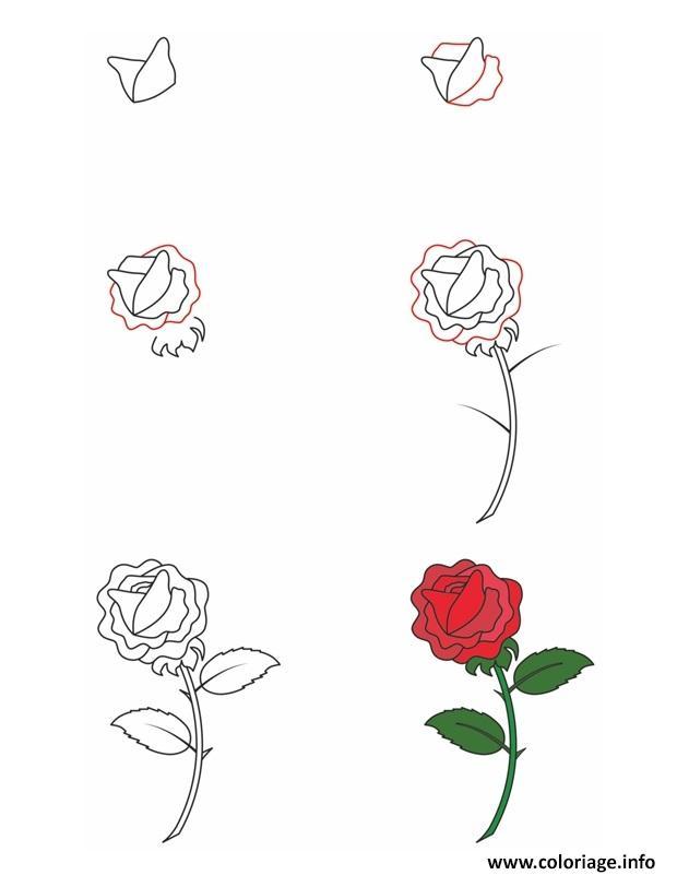 Coloriage Comment Dessiner Une Rose Dessin