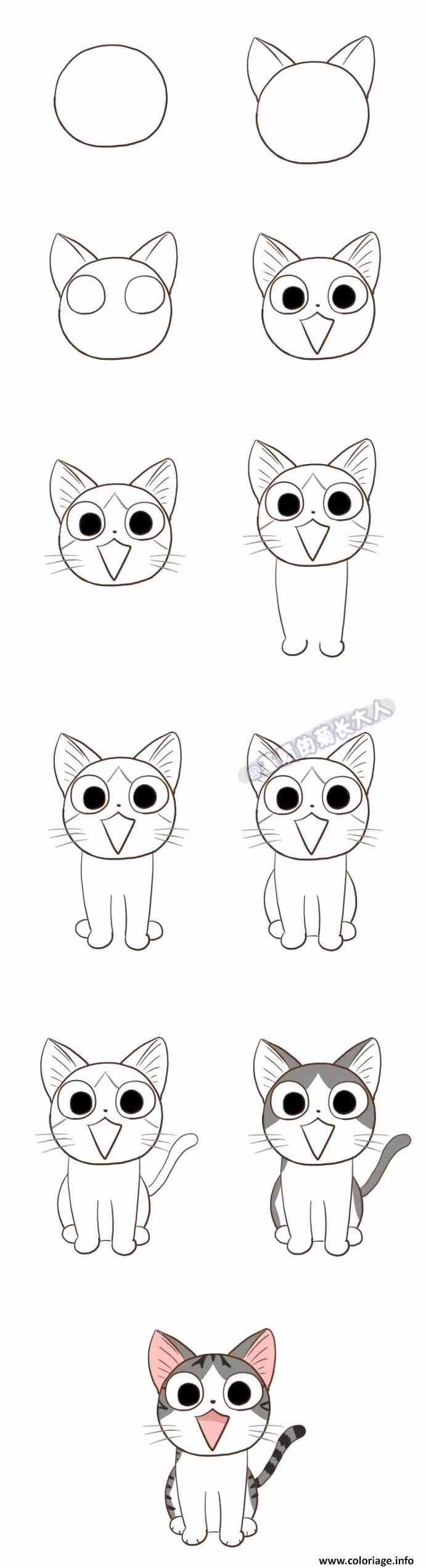Coloriage Comment Dessiner Un Chat Kawaii Dessin
