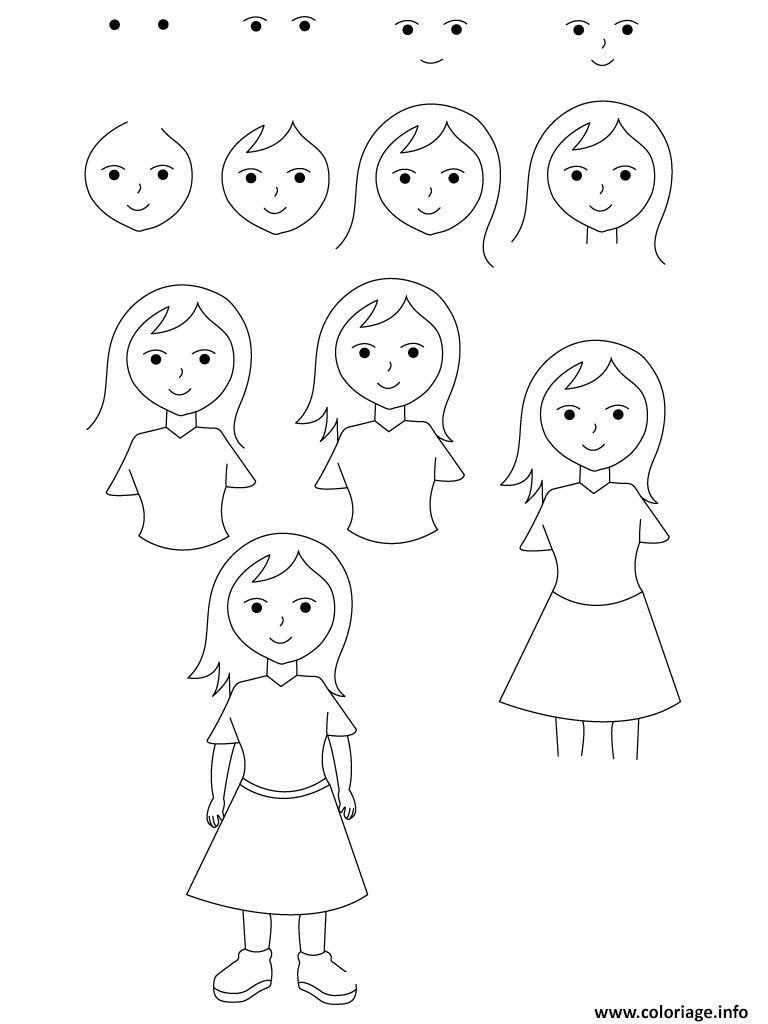 Coloriage Comment Dessiner Une Fille Jecoloriecom