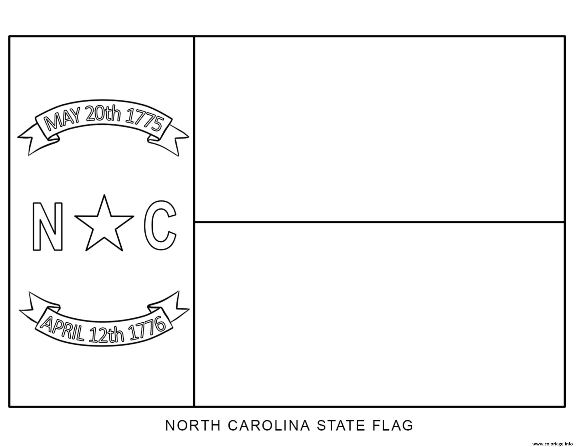 Coloriage North Carolina Drapeau Etats Unis Dessin à Imprimer