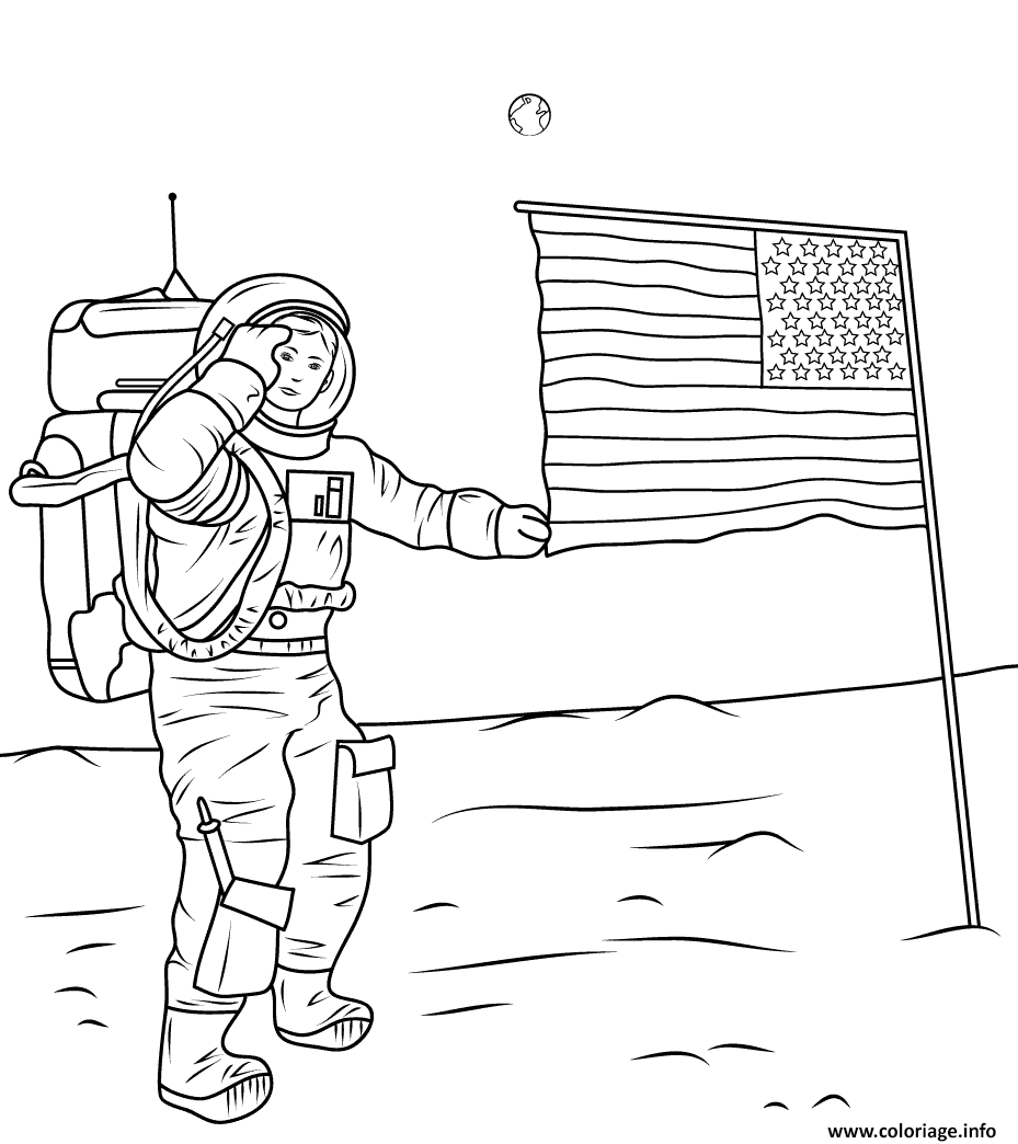 Coloriage Neil Armstrong On The Moon Dessin à Imprimer