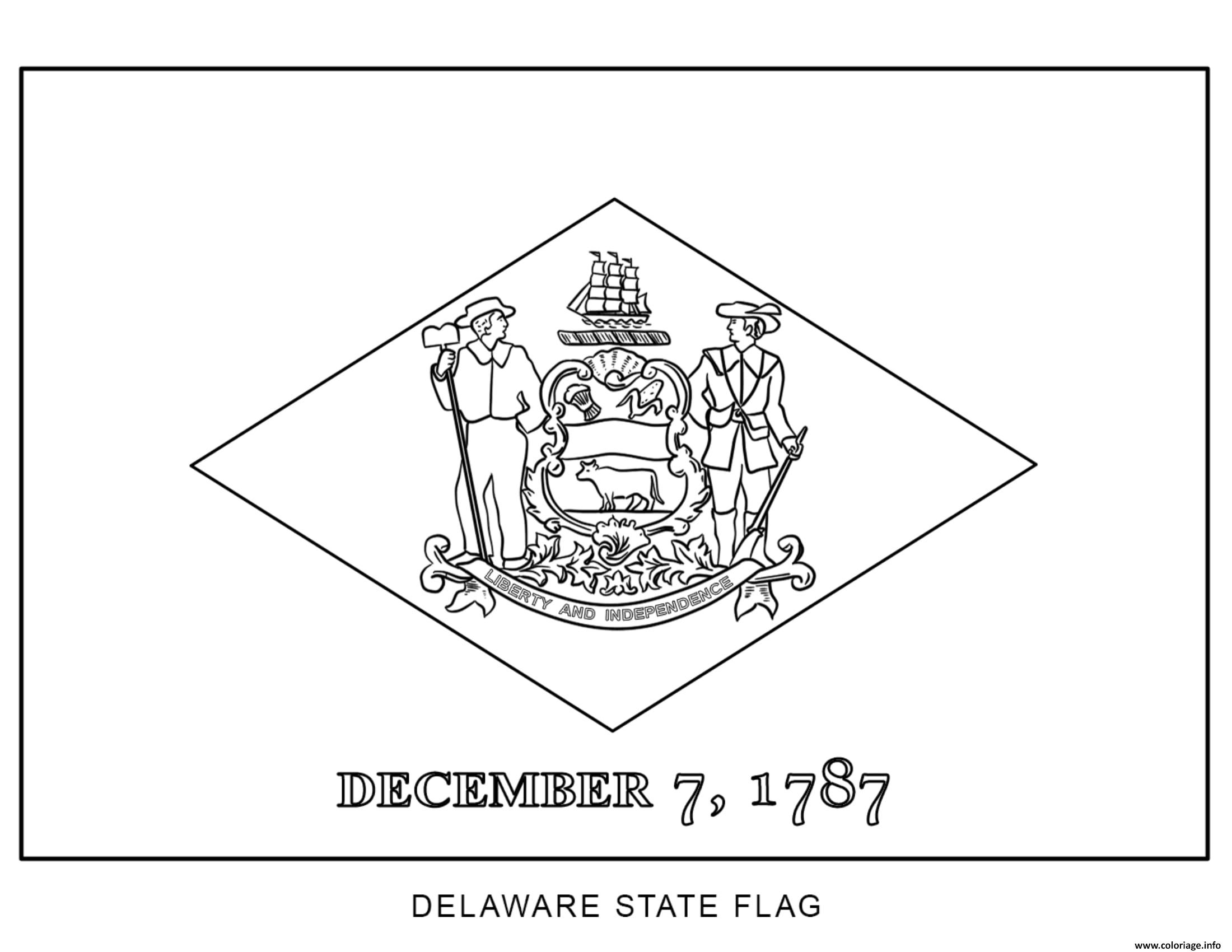 Coloriage delaware drapeau Etats Unis - JeColorie.com