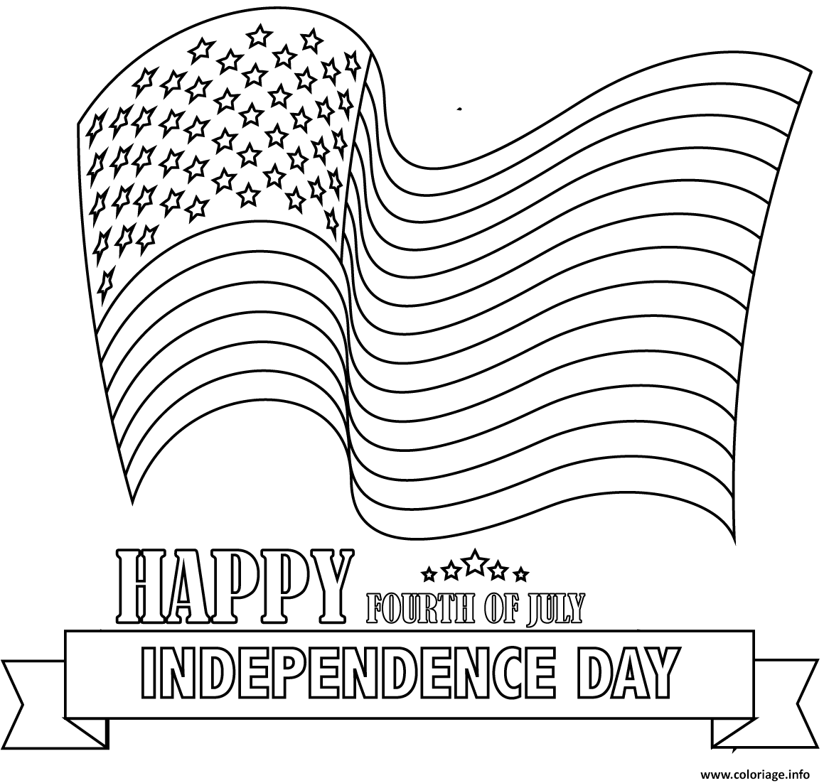 Coloriage Happy Fourth Of July Dessin à Imprimer