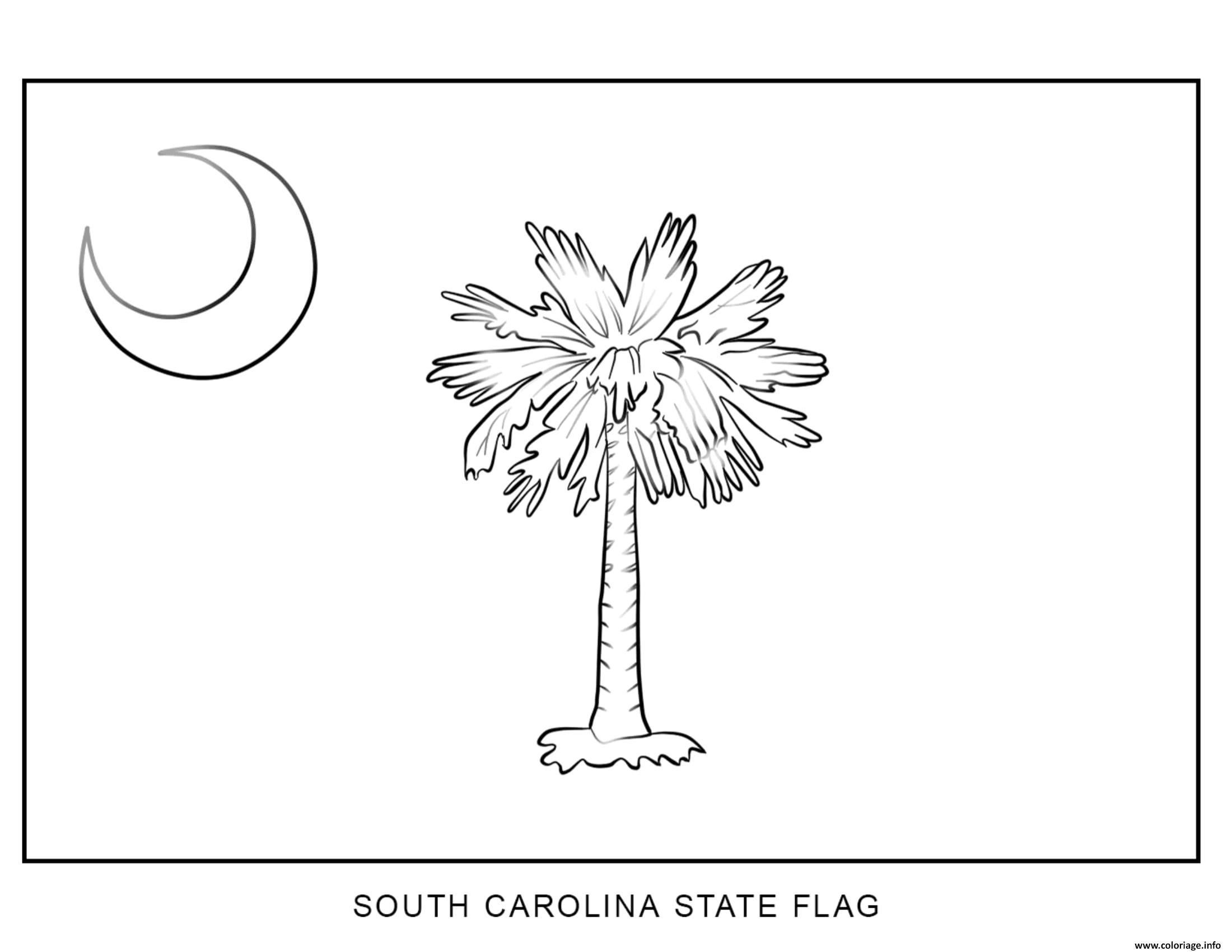 Coloriage South Carolina Drapeau Etats Unis Dessin à Imprimer