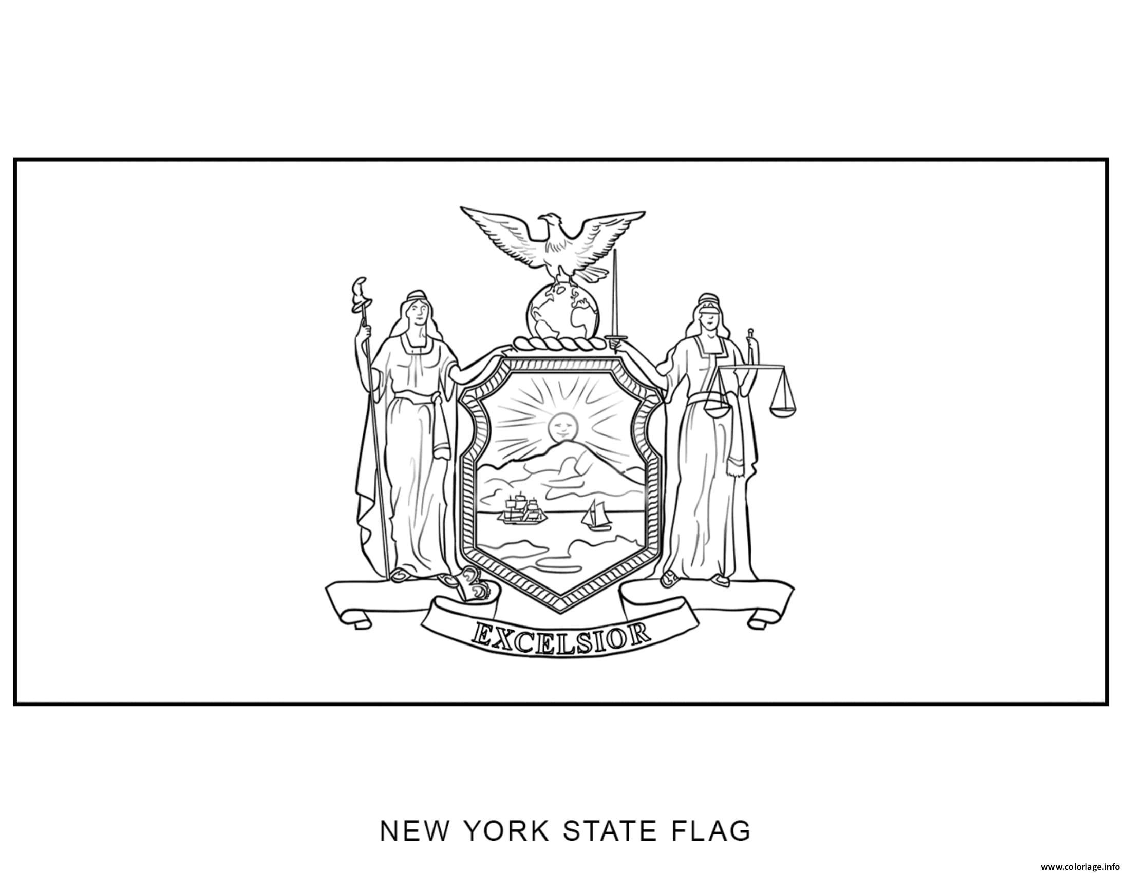 Coloriage Gratuit New York.Coloriage New York Drapeau Etats Unis Jecolorie Com