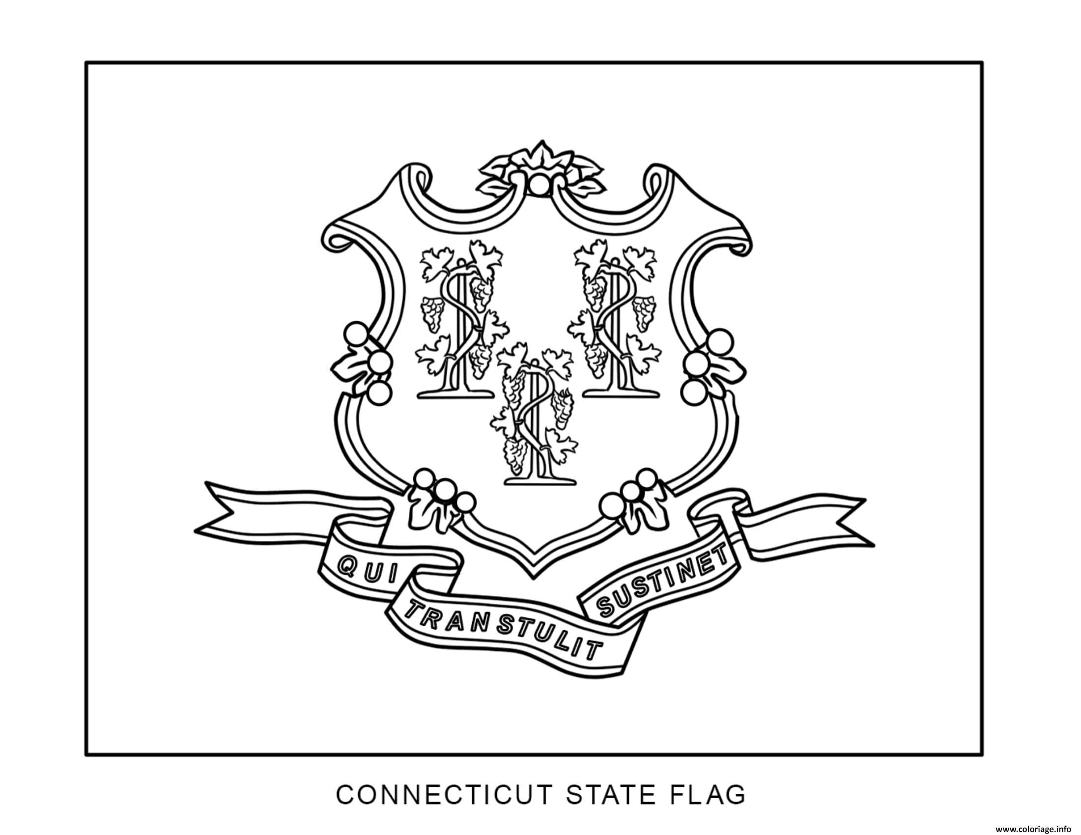 Coloriage connecticut drapeau Etats Unis - JeColorie.com