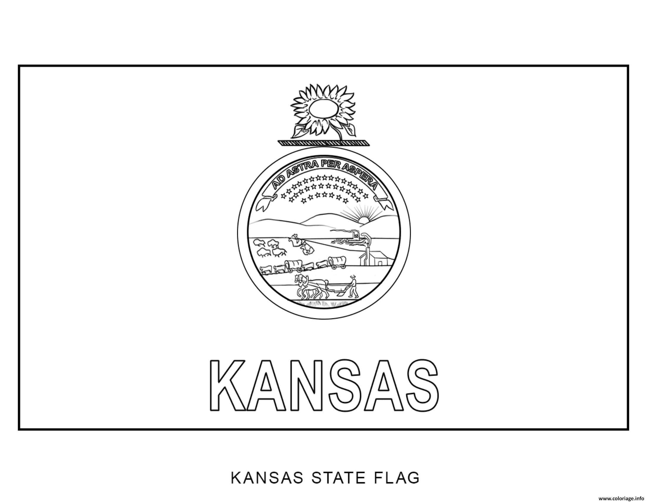Coloriage Kansas Drapeau Etats Unis dessin