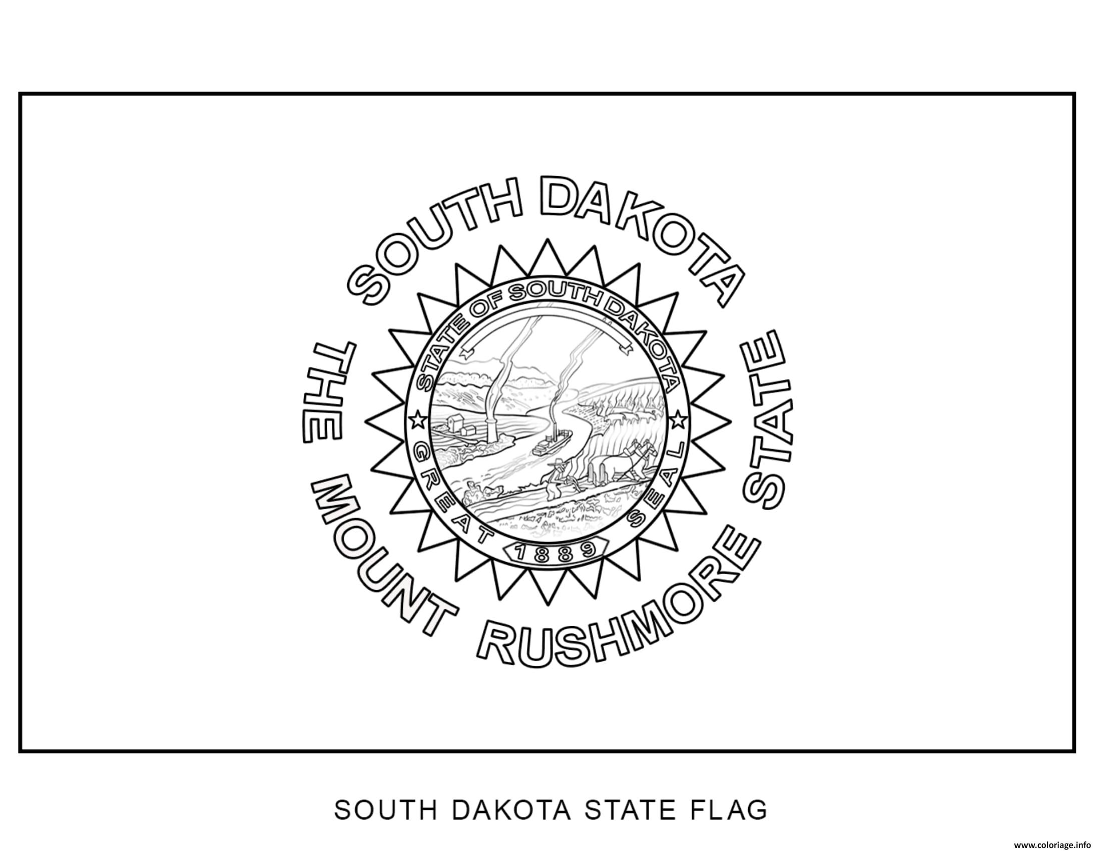 Coloriage South Dakota Drapeau Etats Unis Dessin à Imprimer