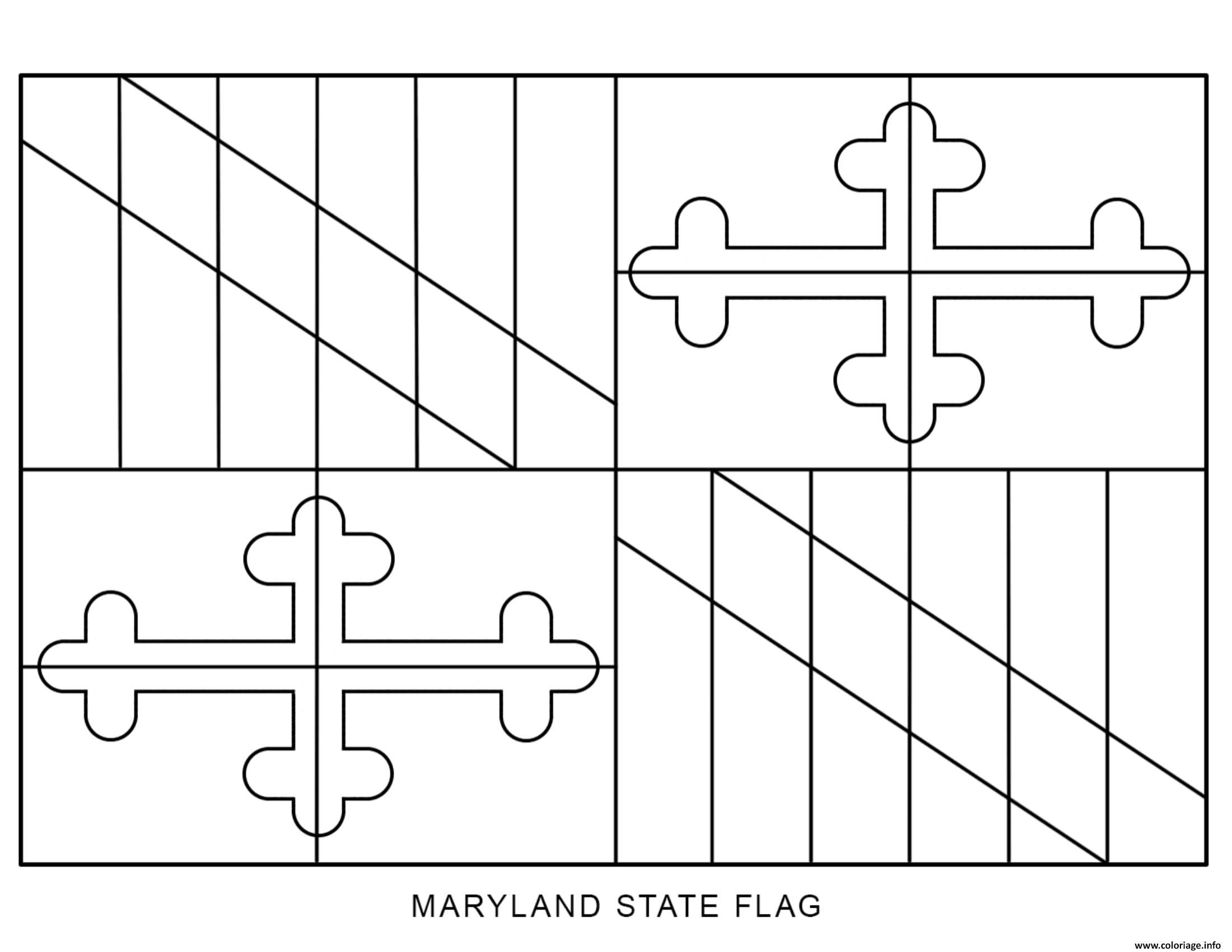 Coloriage maryland drapeau Etats Unis - JeColorie.com