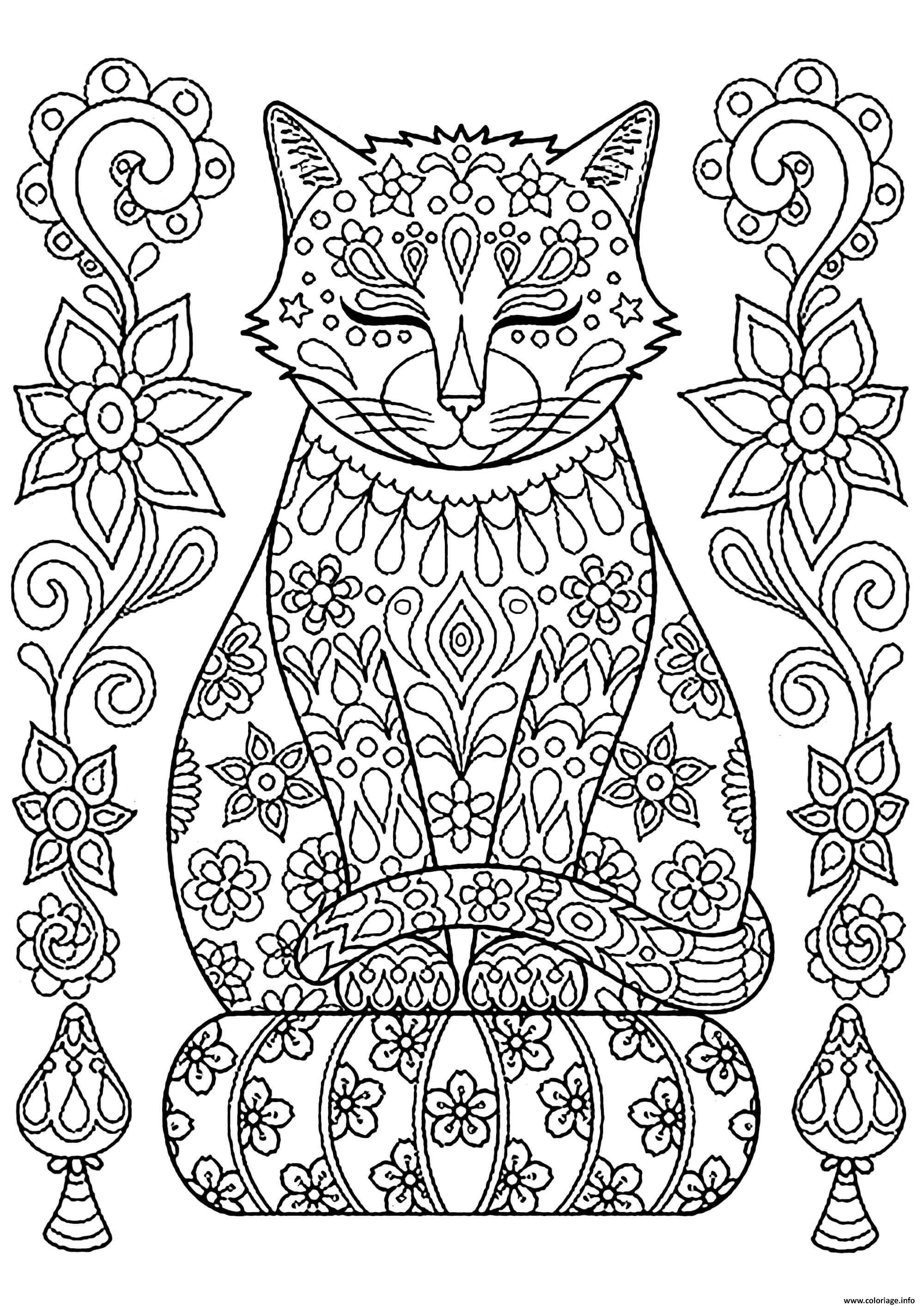 Coloriage adulte mandala chat zen - JeColorie.com