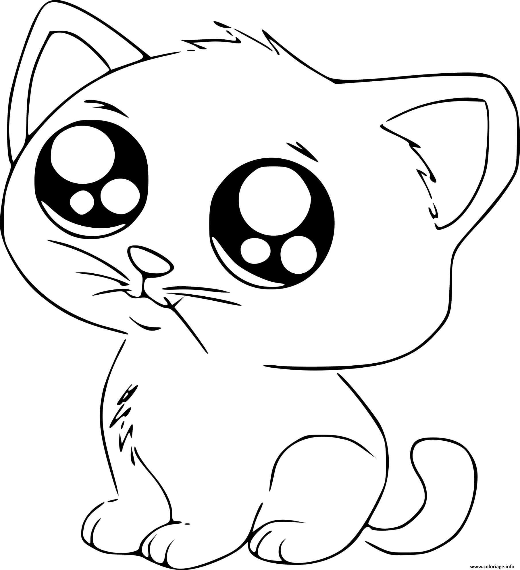 Coloriage Chat Kawaii Manga Mignon Jecolorie Com