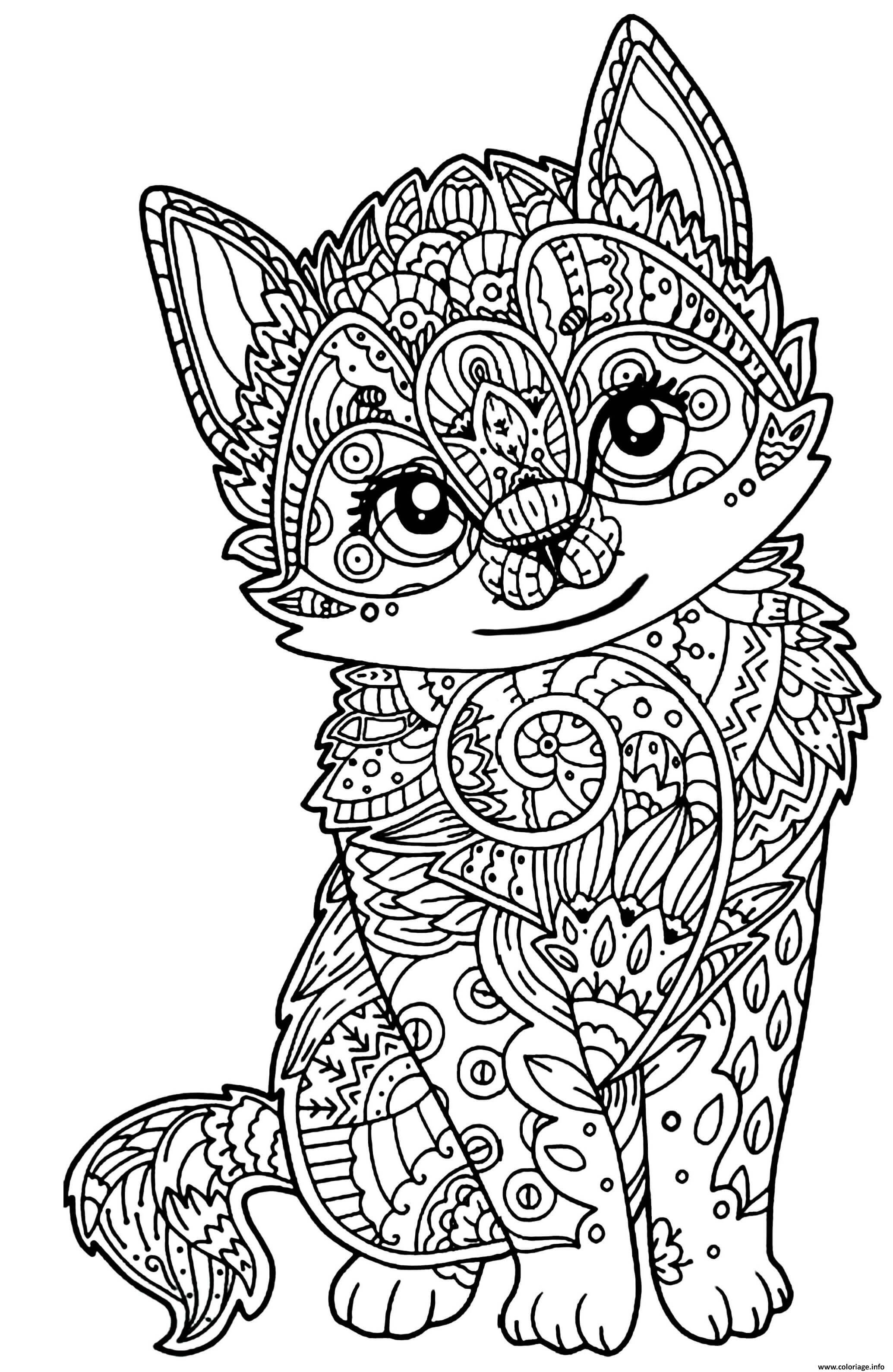 Coloriage Adulte Mandala Mignon Chaton Dessin