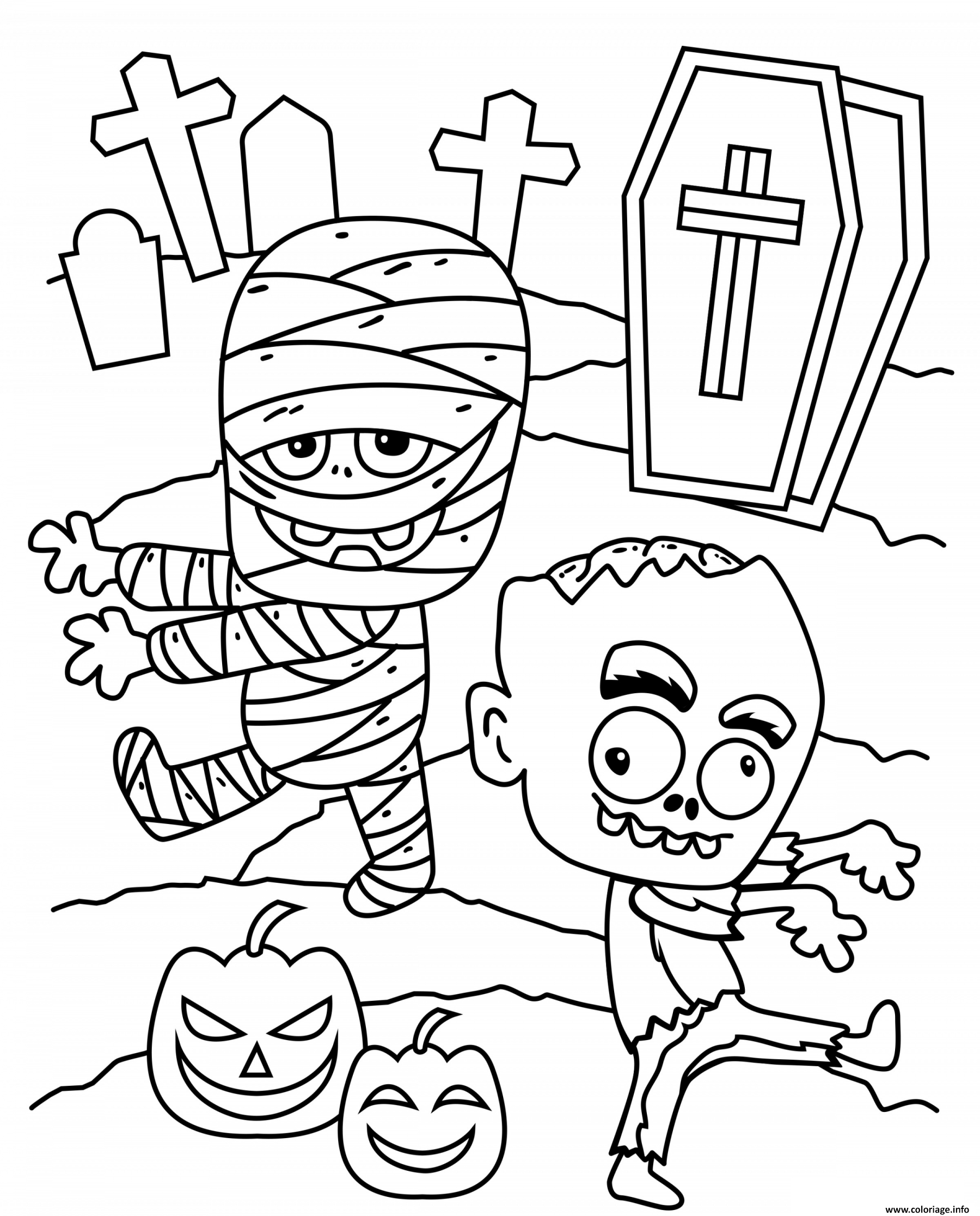 Dessin Halloween Zombie.Coloriage Halloween Zombie Citrouille Au Cimetiere Dessin Halloween A Imprimer