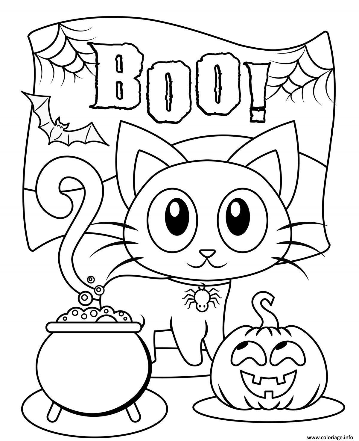 Coloriage Halloween Boo Chat Noir Citrouille Dessin