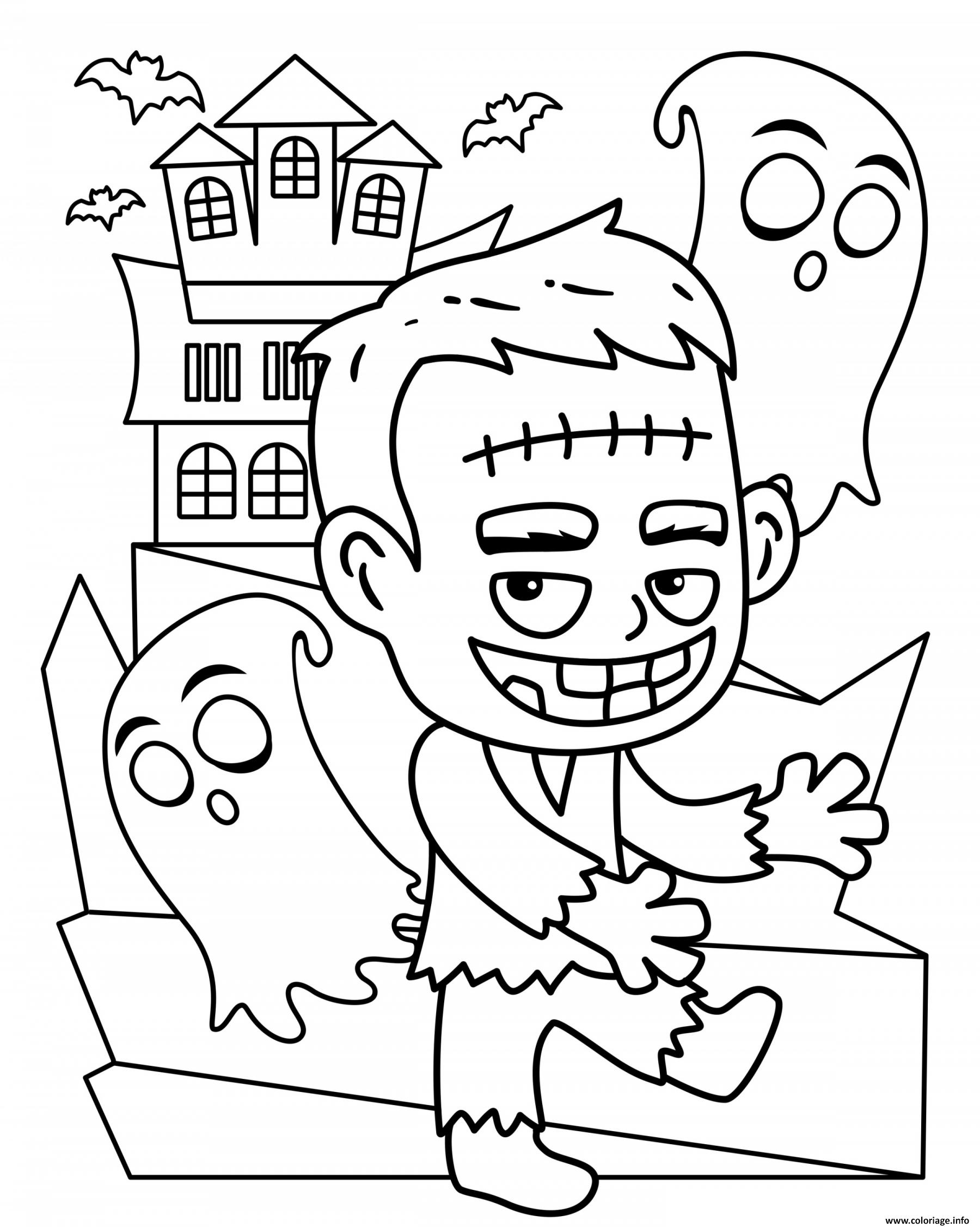 Dessin Halloween Frankenstein et les fantomes Coloriage Gratuit à Imprimer