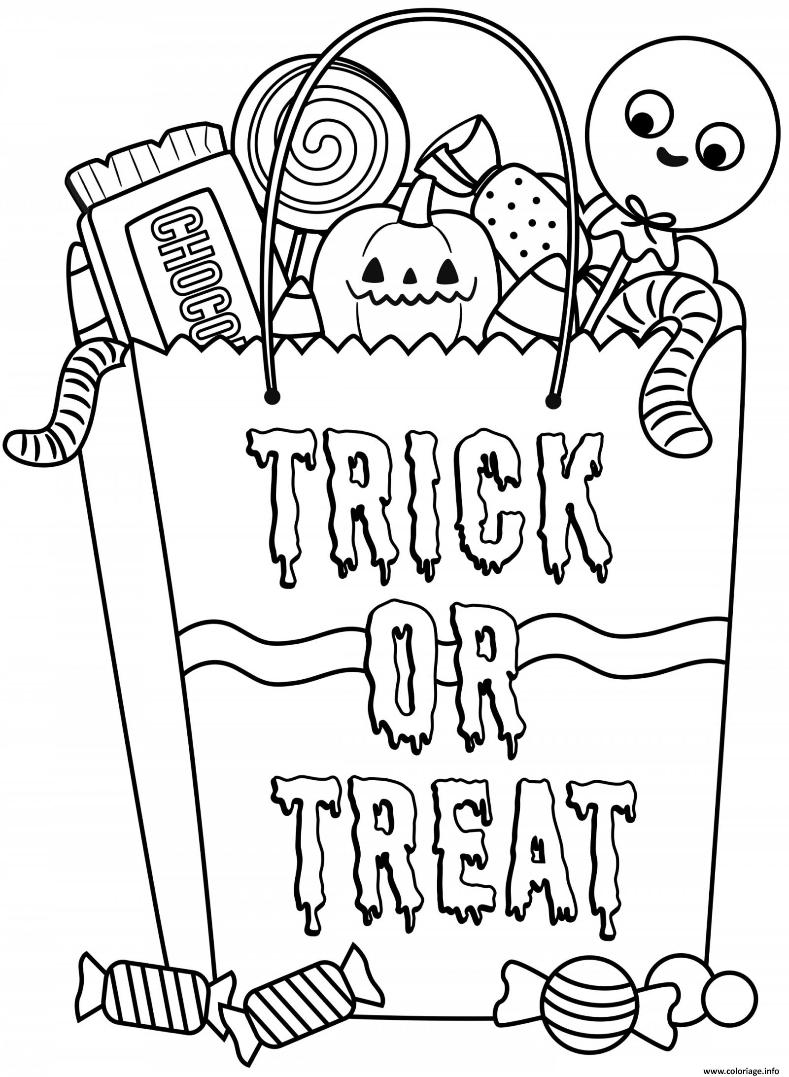 Dessin Halloween sac de friandises Coloriage Gratuit à Imprimer