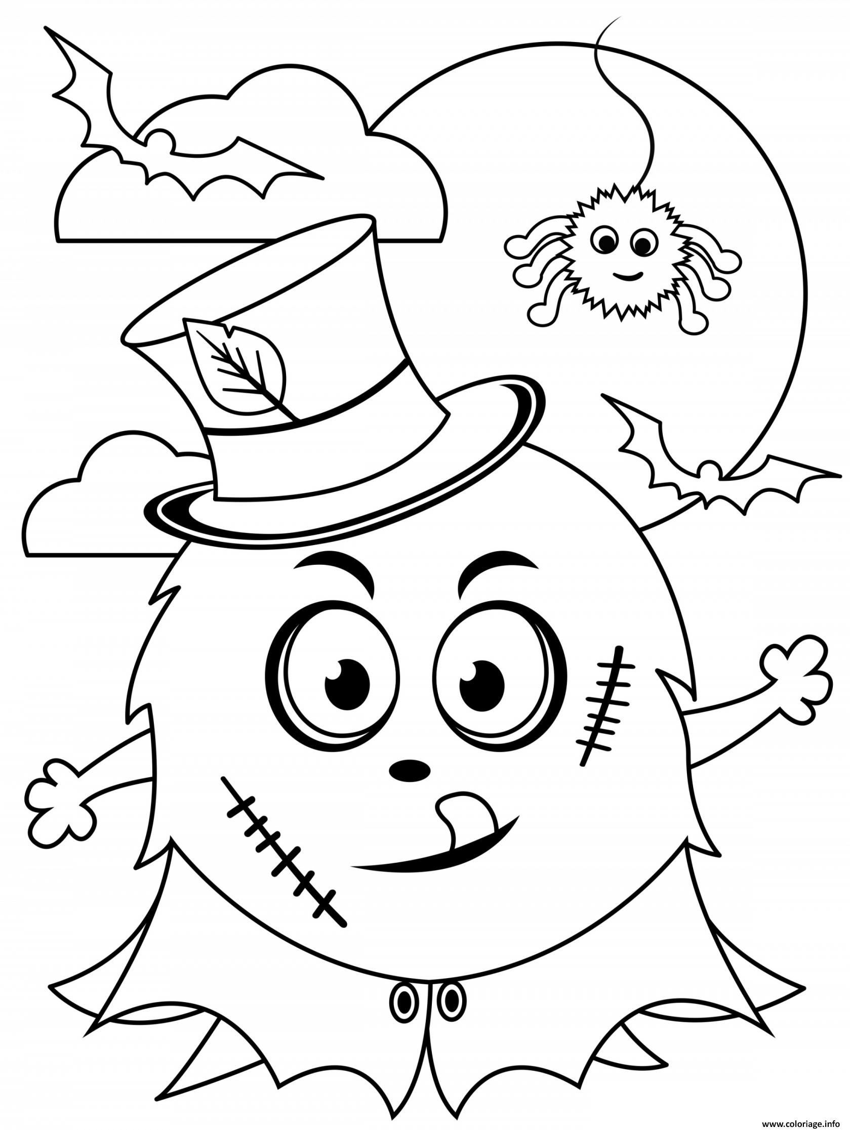 Dessin Halloween Monstre devant la Lune Coloriage Gratuit à Imprimer