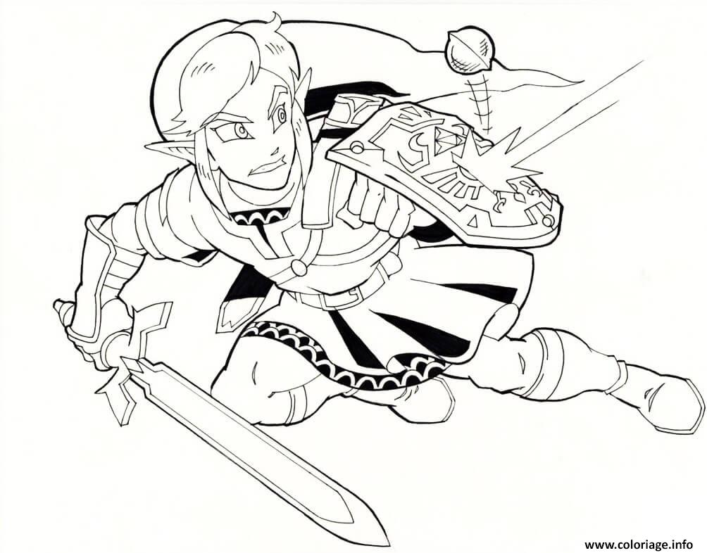 Dessin Link The Legend of Zelda en action Coloriage Gratuit à Imprimer