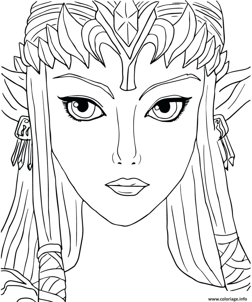 Dessin Princesse Zelda creee par Shigeru Miyamoto 1986 Coloriage Gratuit à Imprimer