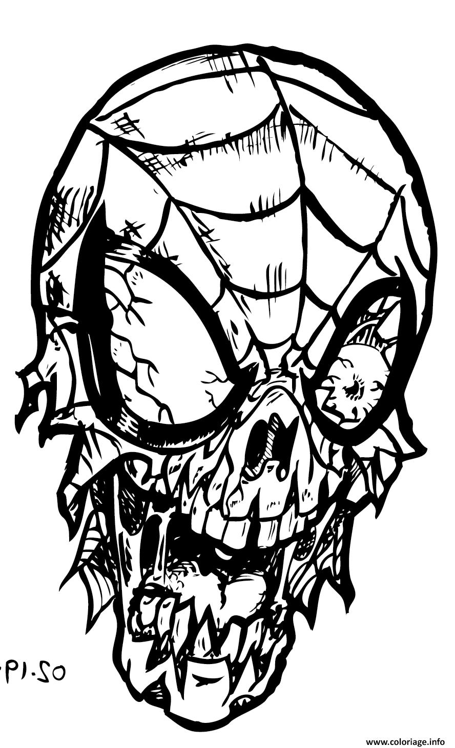 Coloriage Spiderman Zombie dessin