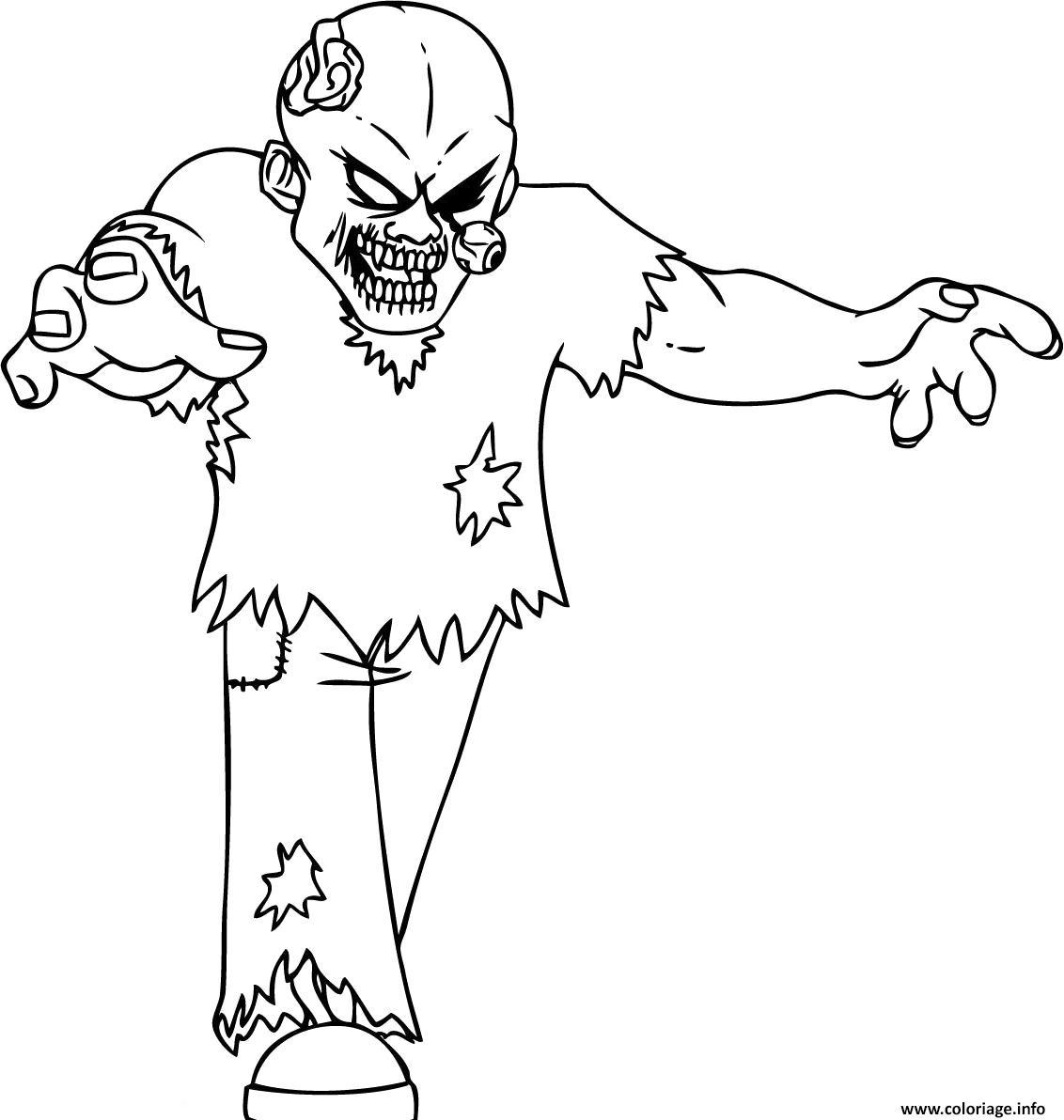 Coloriage Zombie Epeurant Avec Un Oeil Sorti Jecolorie Com