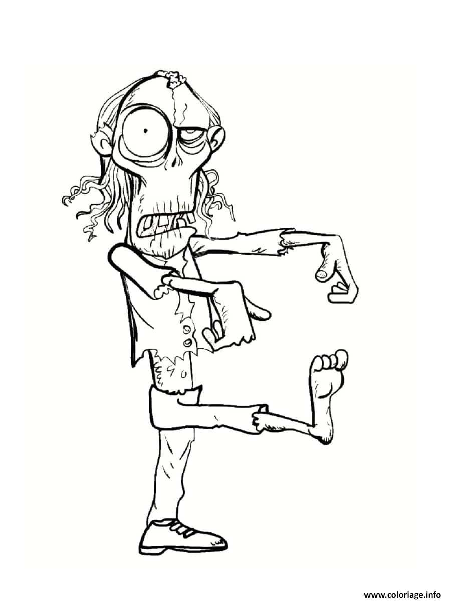 Coloriage Zombi Avec Un Air Absent Dessin Zombie A Imprimer