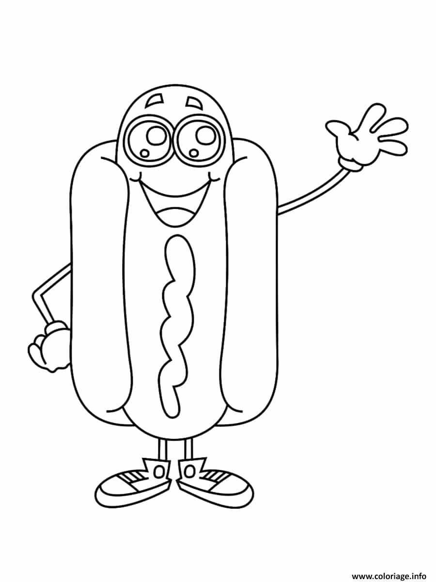 Coloriage Hotdog Kawaii Dessin